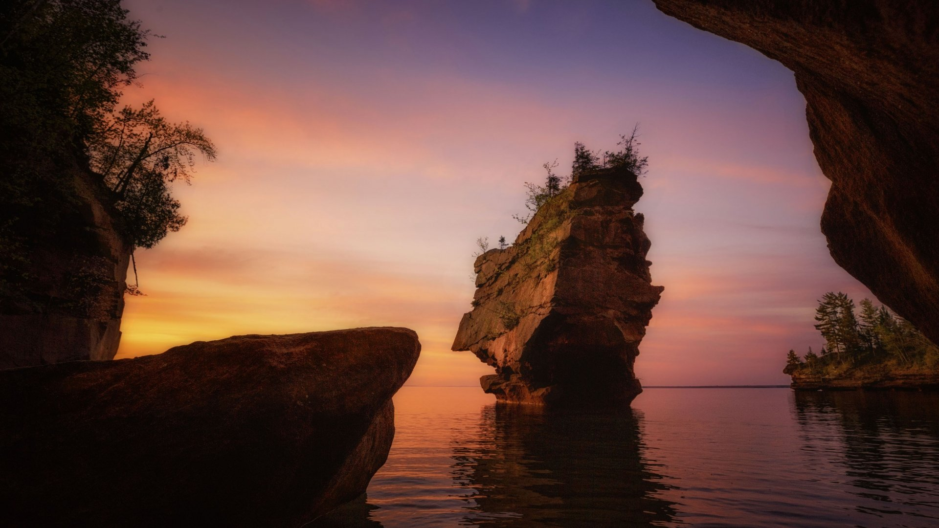 Stockton Island during sunset from the shore at Apostle Islands National Lakeshore