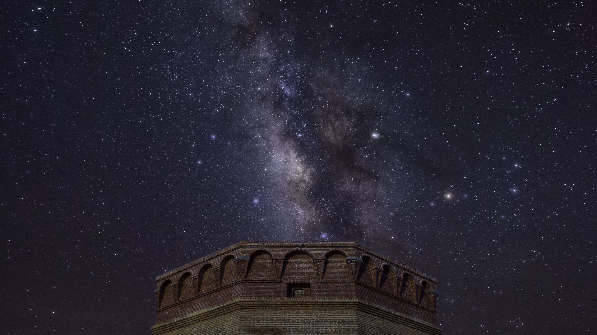 The Milky Way over the brick fortress of Dry Tortugas National Park