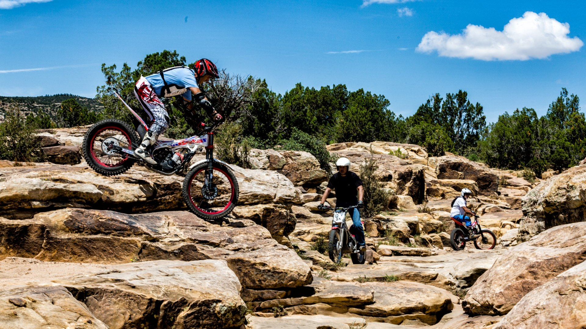 3 Trial Bikers on the sandstone rocky trails of San Ysidro Trails Area