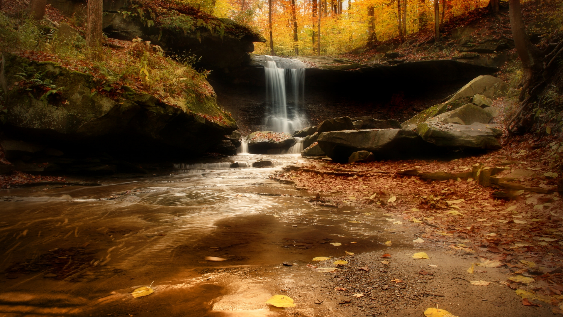 Delicate waterfall surrounded by golden lit autumn forest of greens, yellows, and reds at Cuyahoga Valley National Park