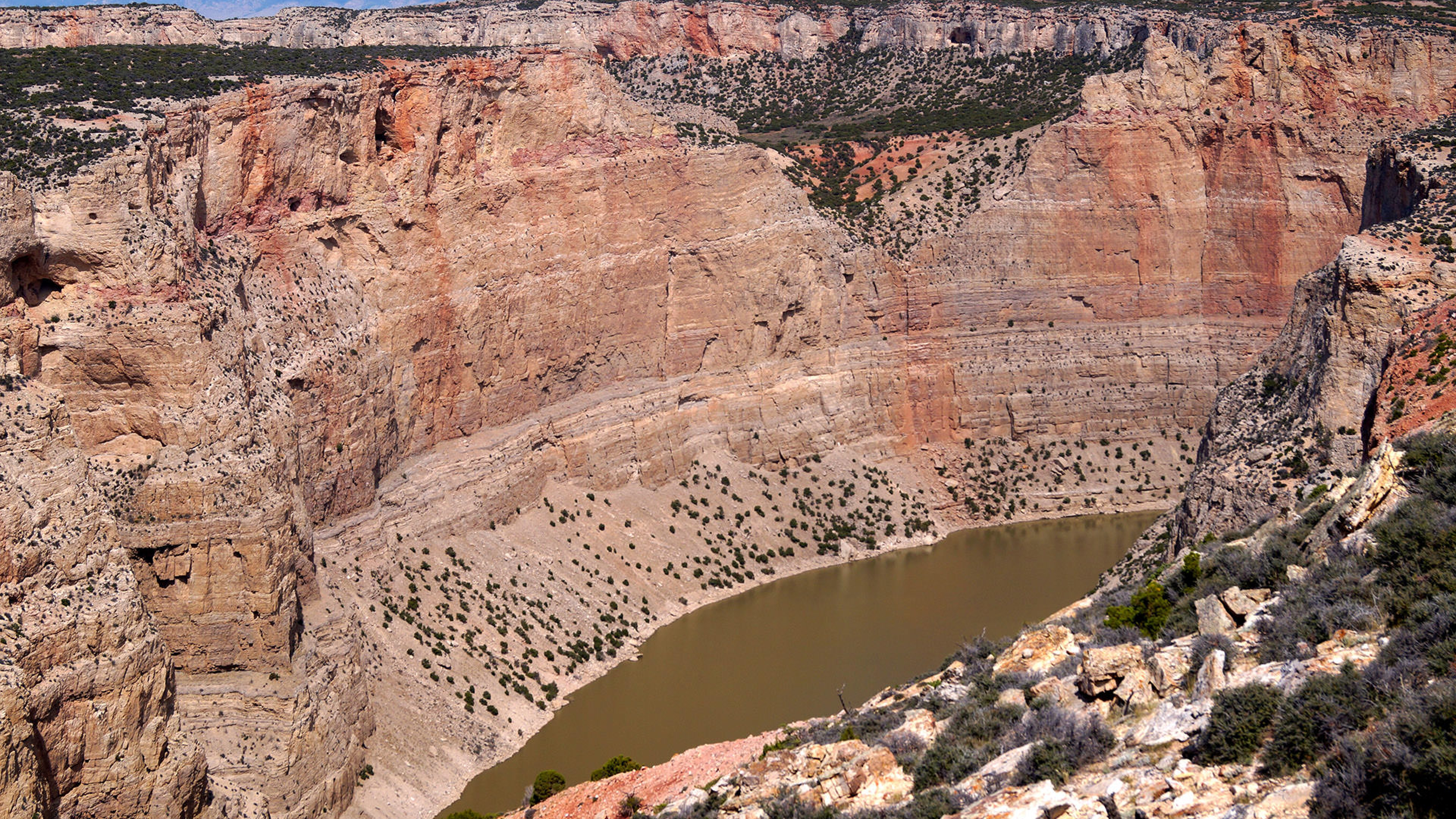 View of the waters from atop the canyon walls