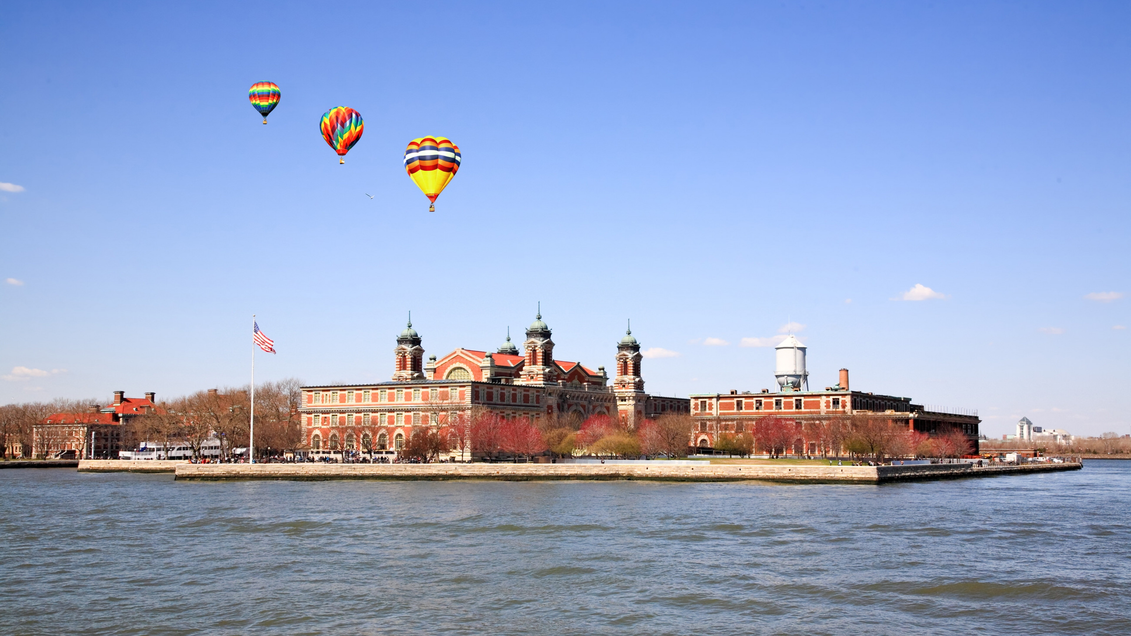 Hot air balloons floating over Elis Island