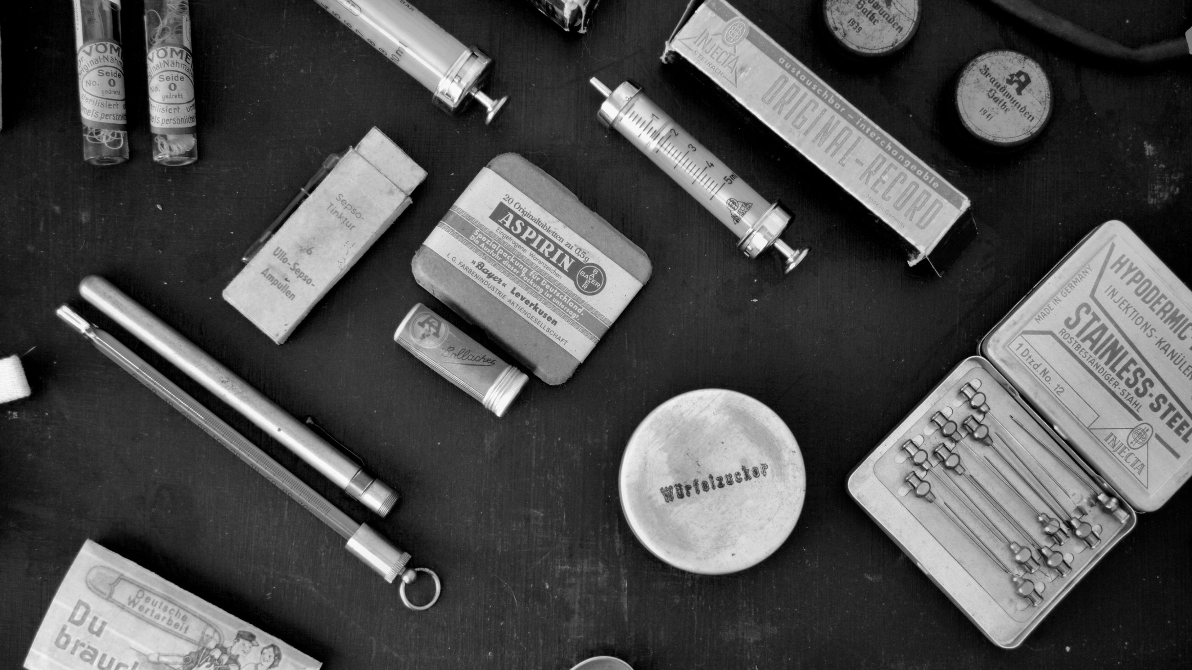 Black and white photo of old medical devices