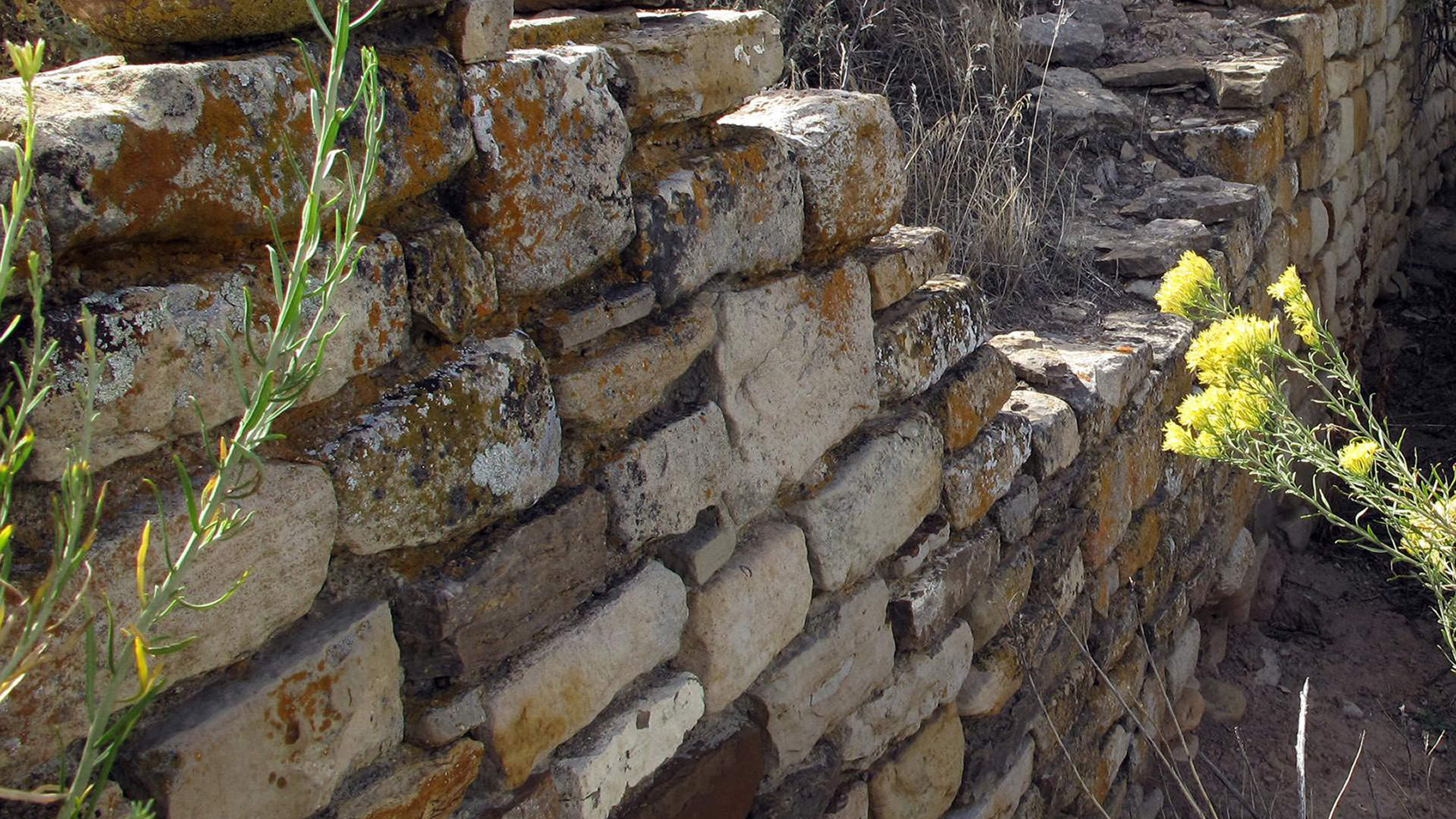 Image of stone wall composing Yucca House National Monument