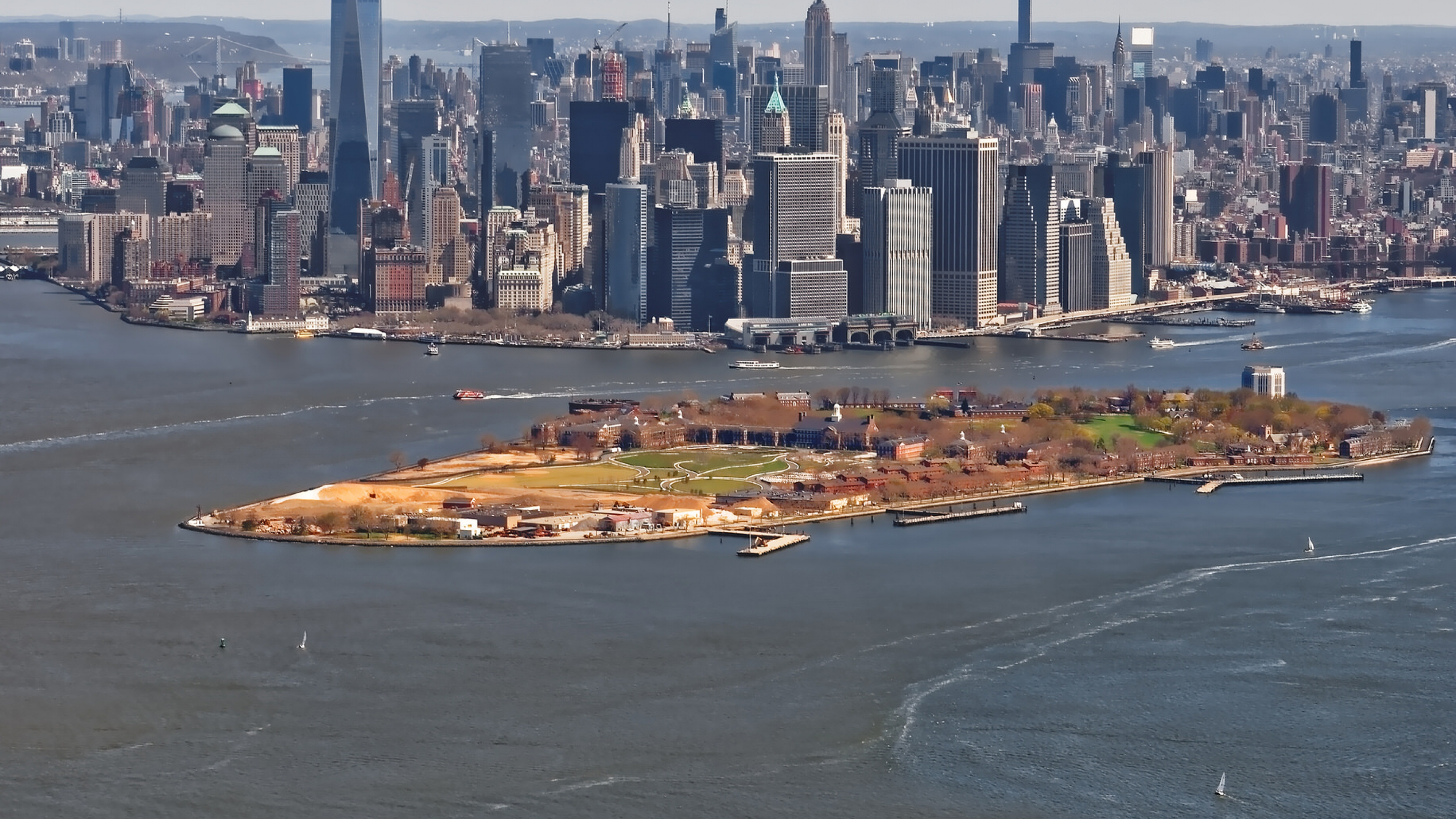 Aerial view of Governors Island National Monument