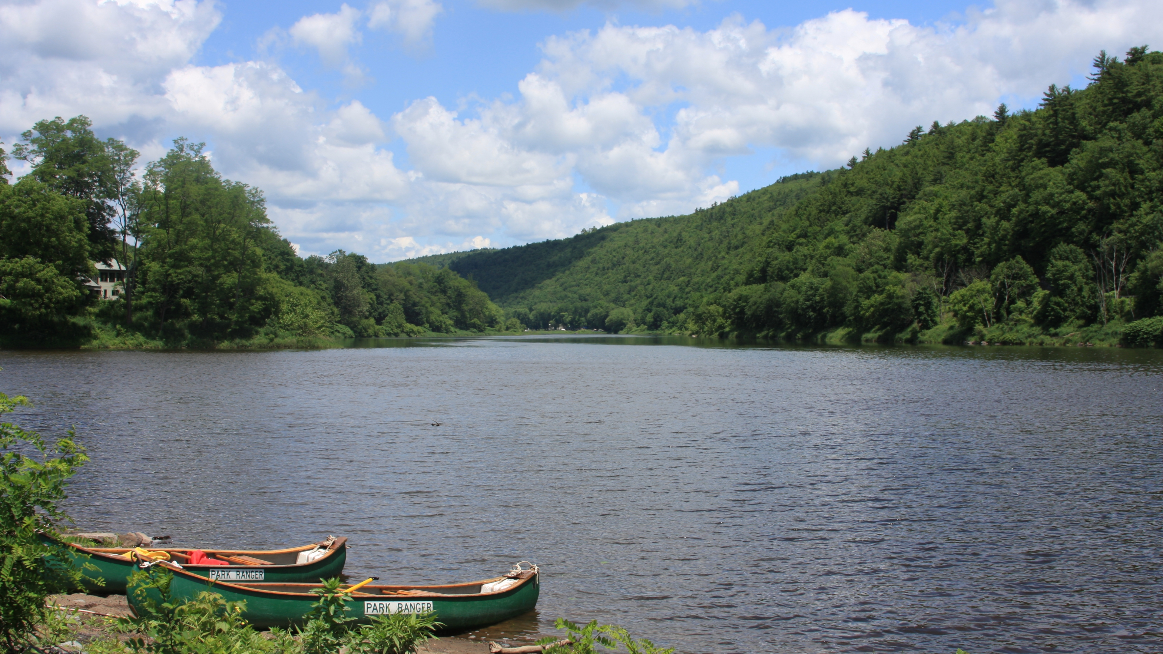two canoes parked on the bank of the upper delaware river