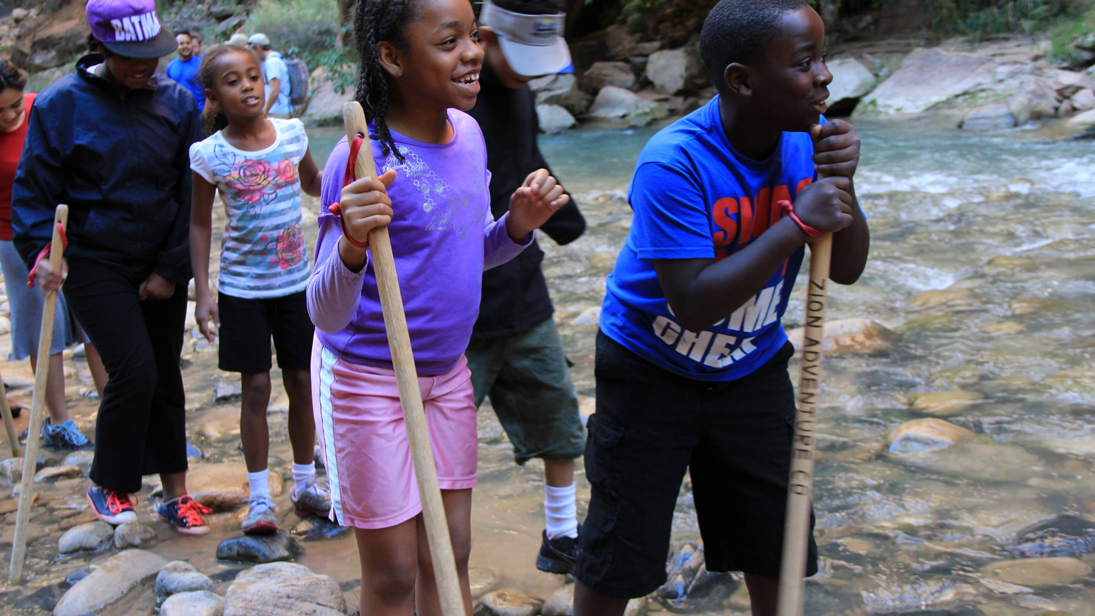 Kids taking part in a Concrete to Canyons program at Zion National Park