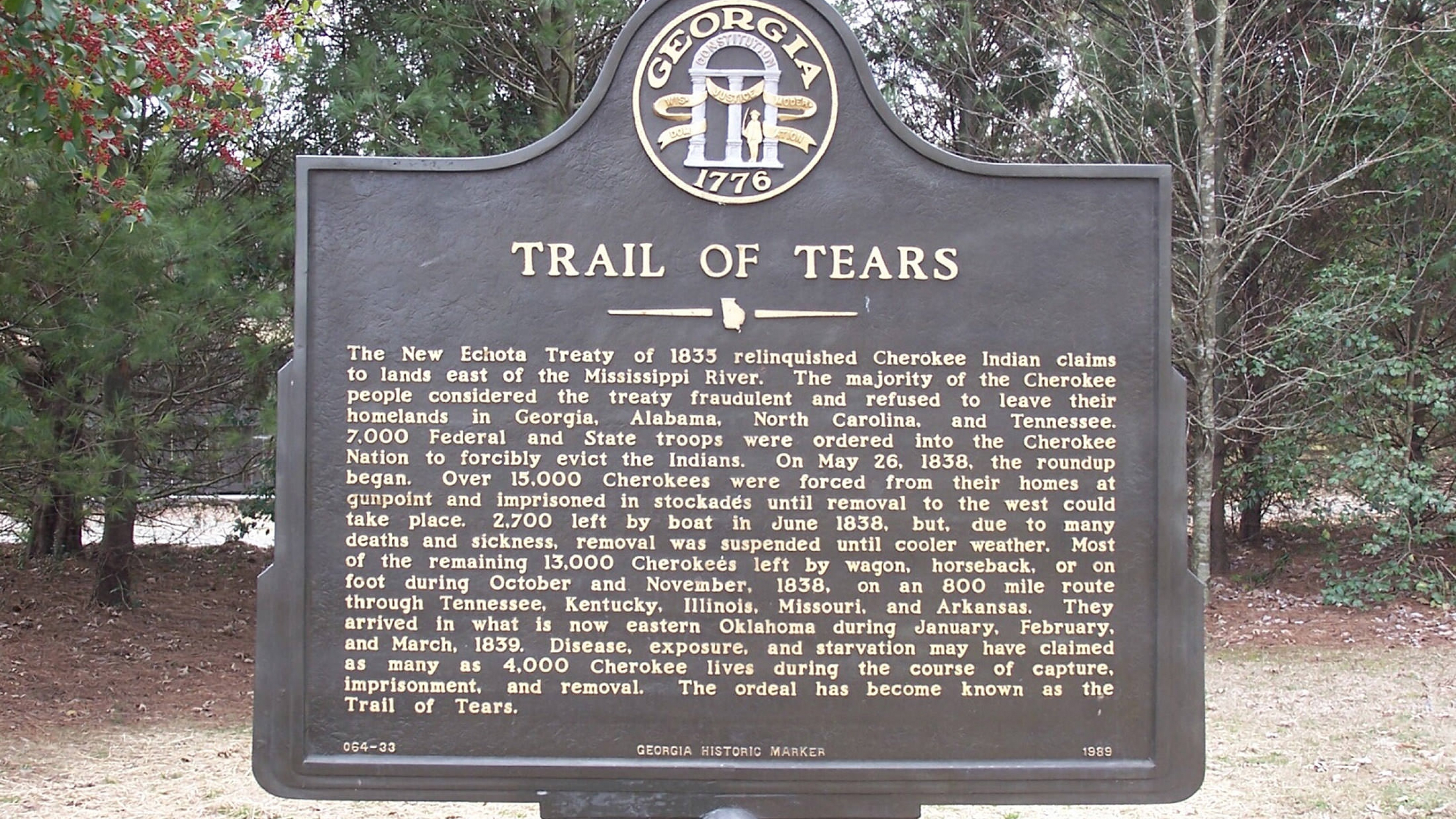 Trail of Tears place marker