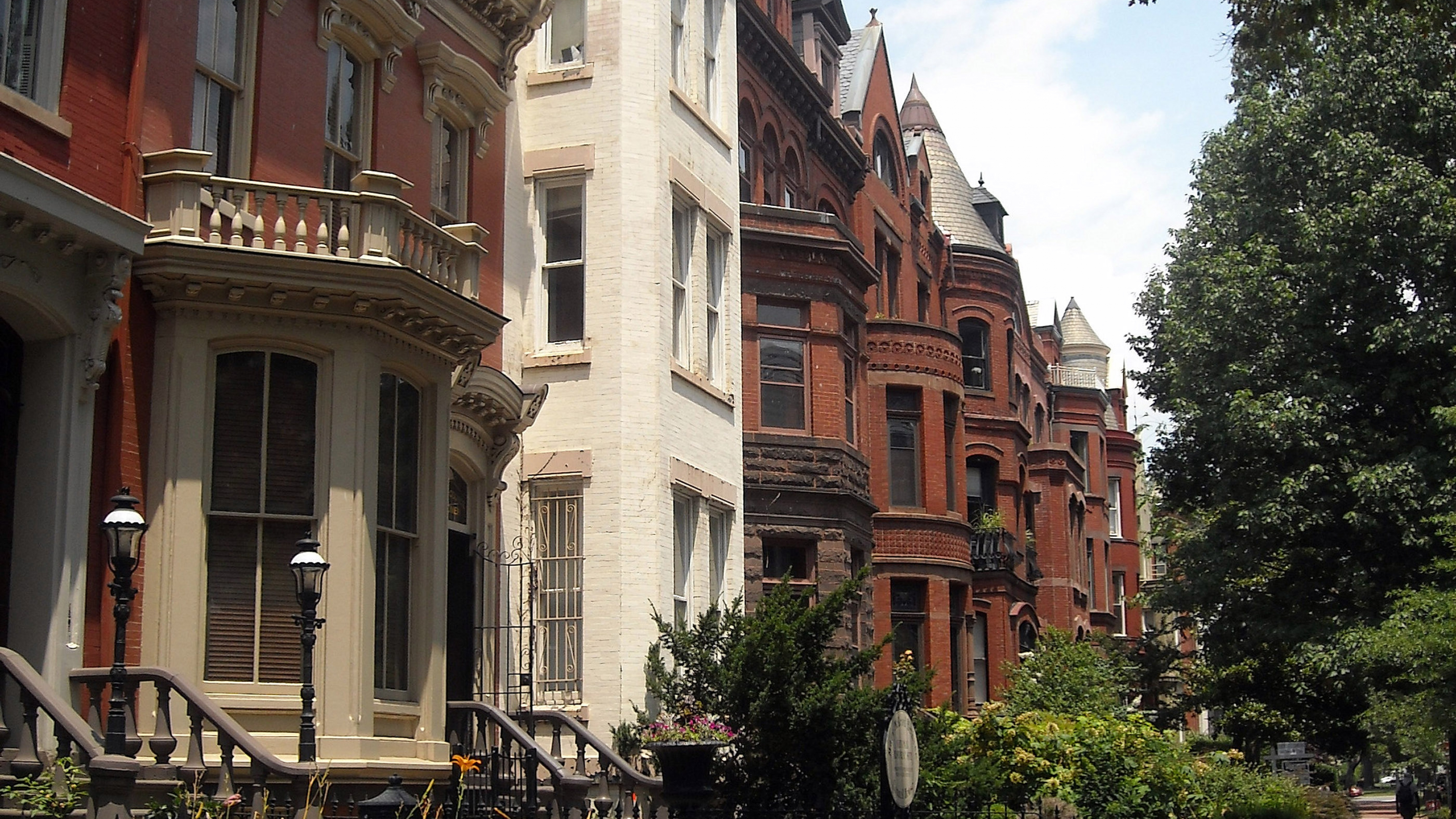 A street lined with row houses, including the Mary McLeod Bethune Council House