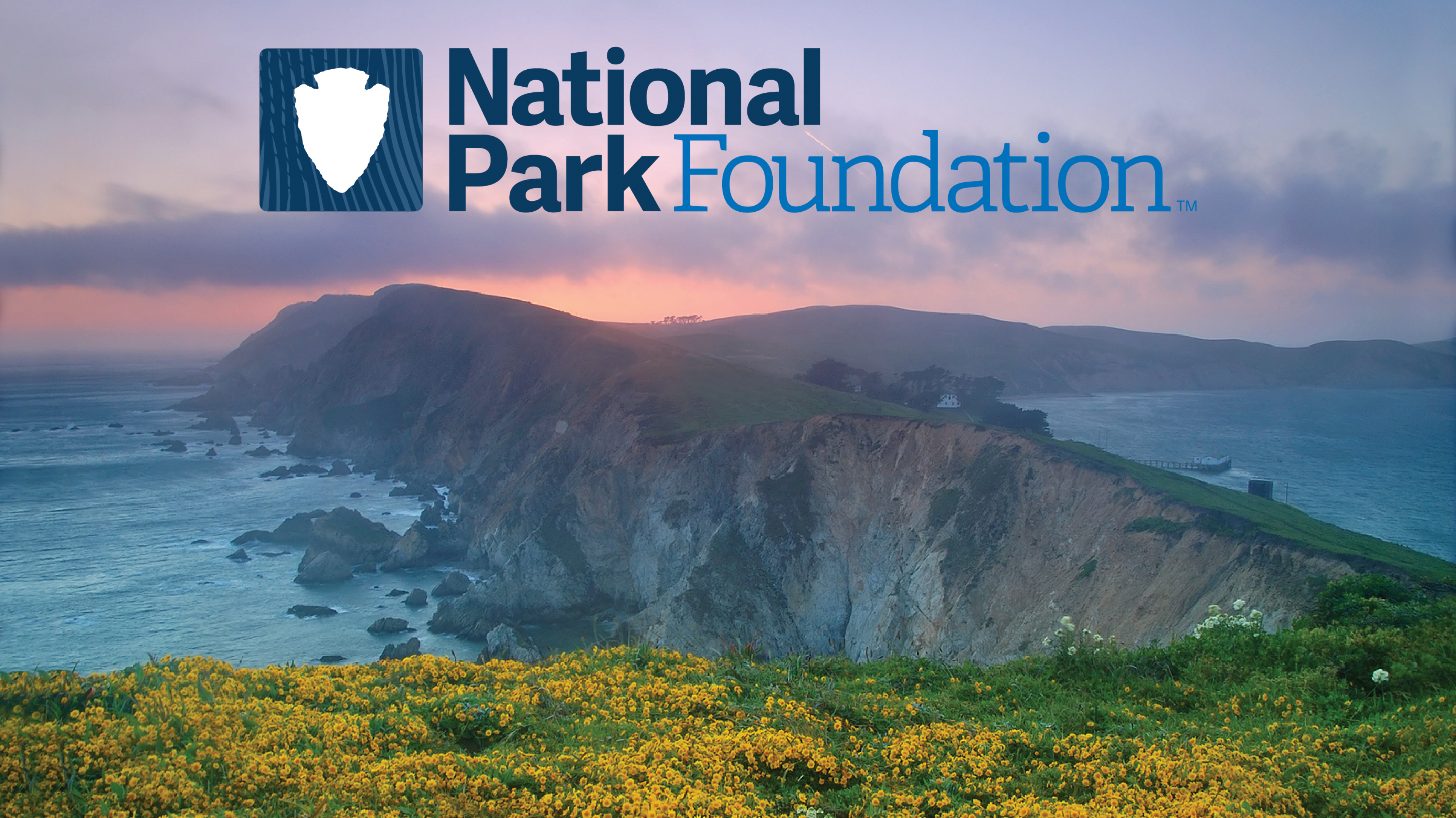 New NPF Logo in front of image of Point Reyes National Seashore
