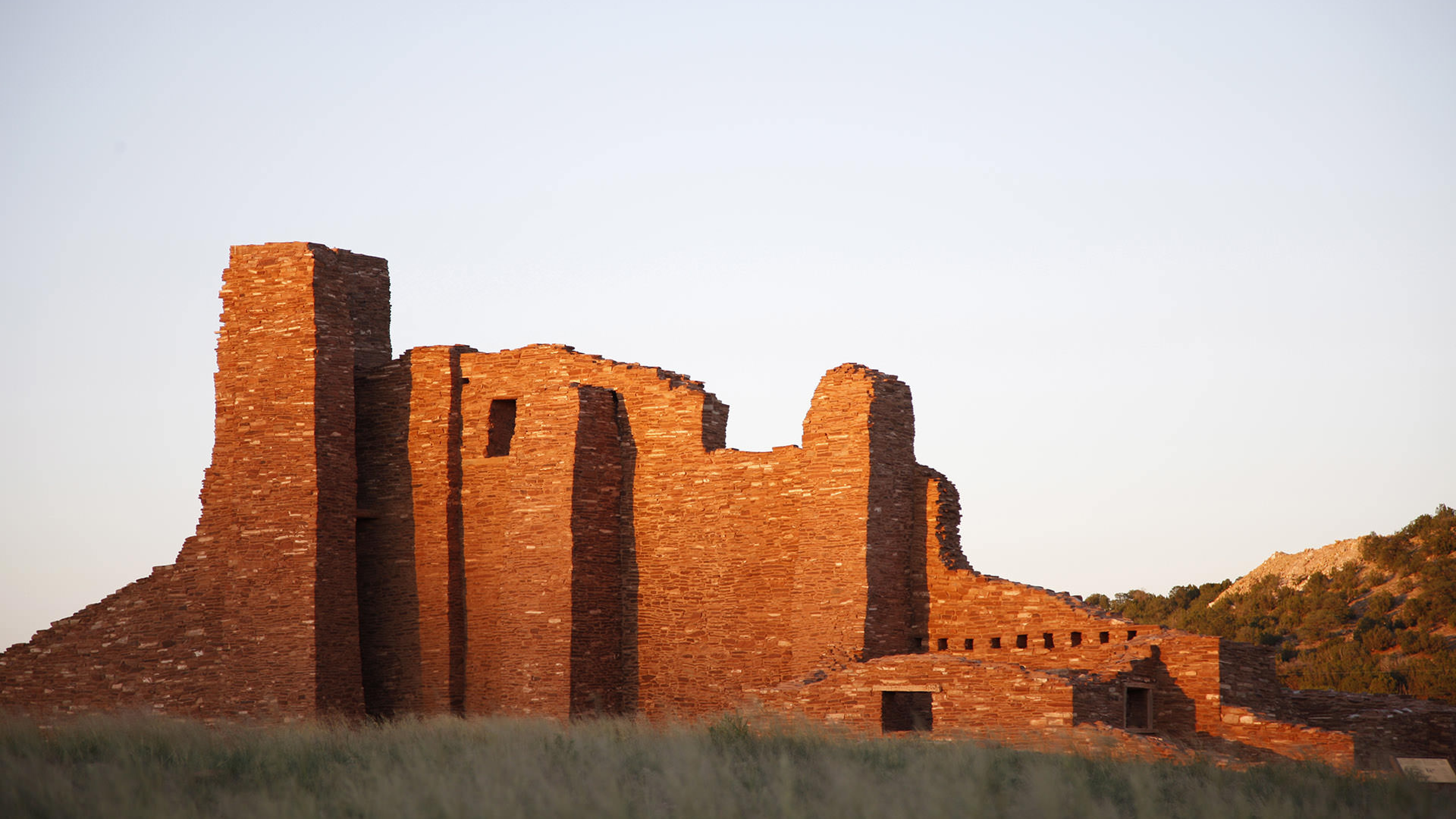 Salinas Pueblo Mission with sunset reflecting off ruins