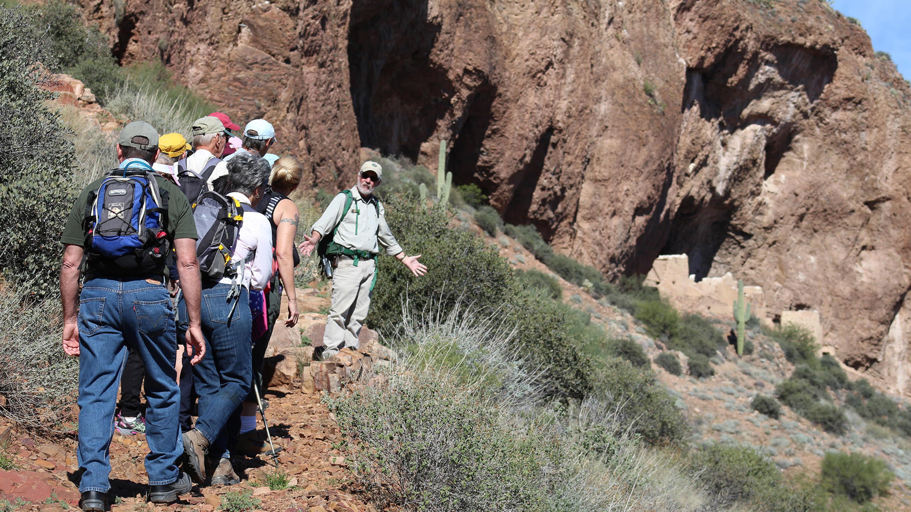 People hiking at Tonto National Monument