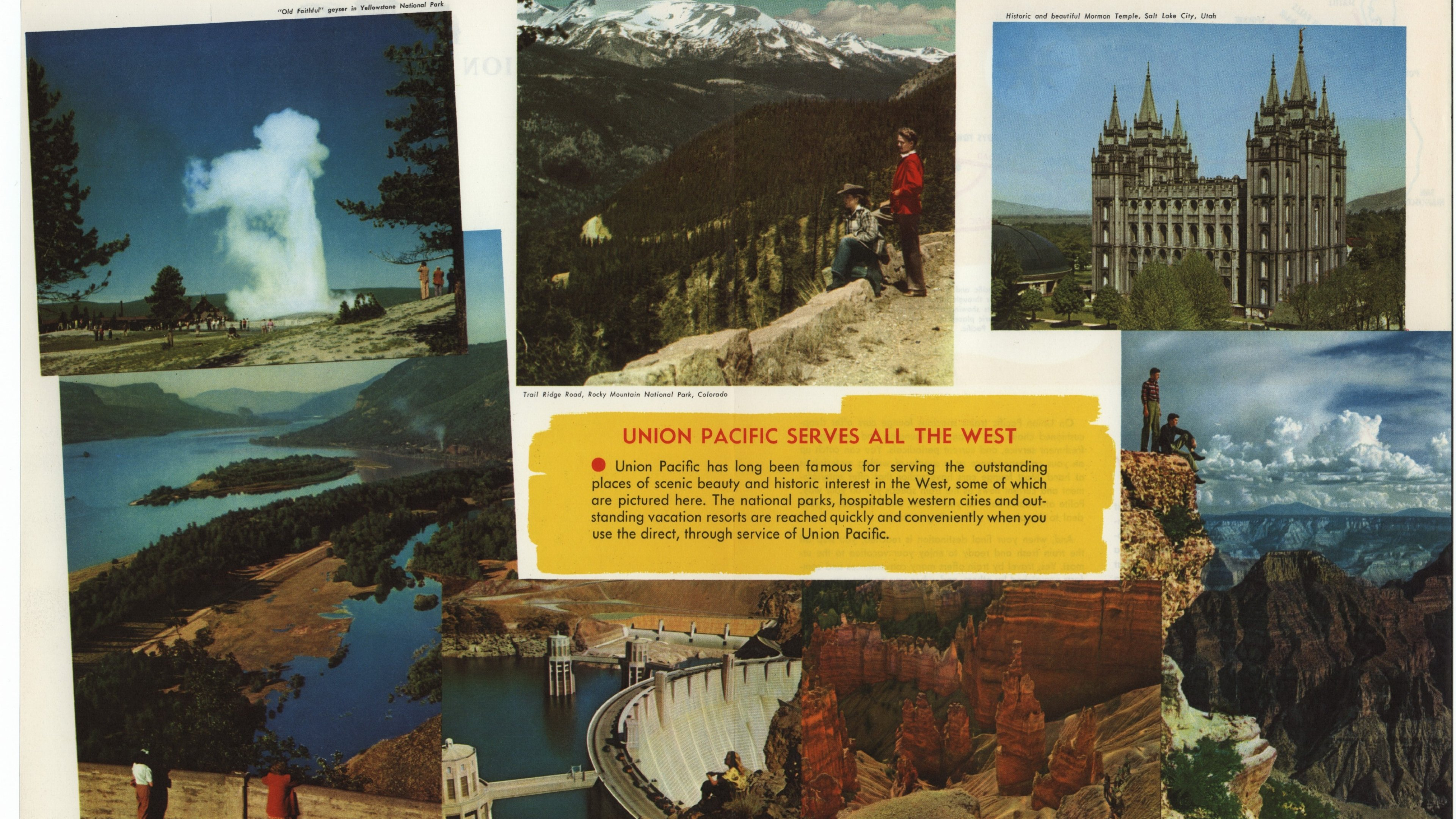 Union Pacific ad with collage of images from different western national parks