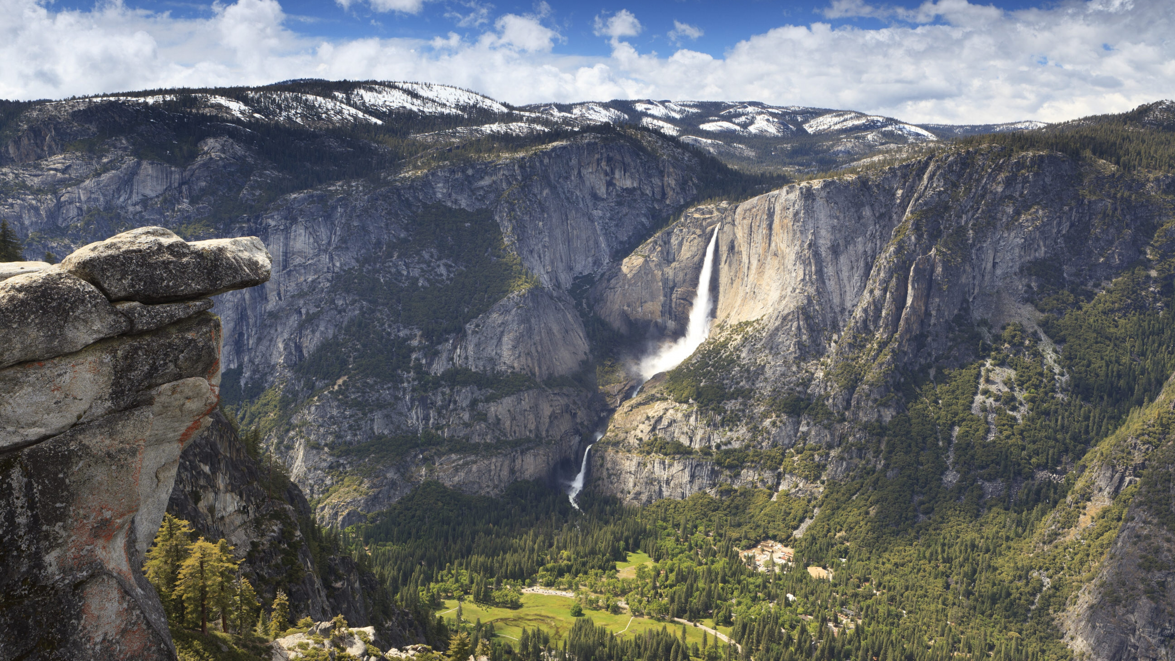 Yosemite Falls in Yosemite Valley from above