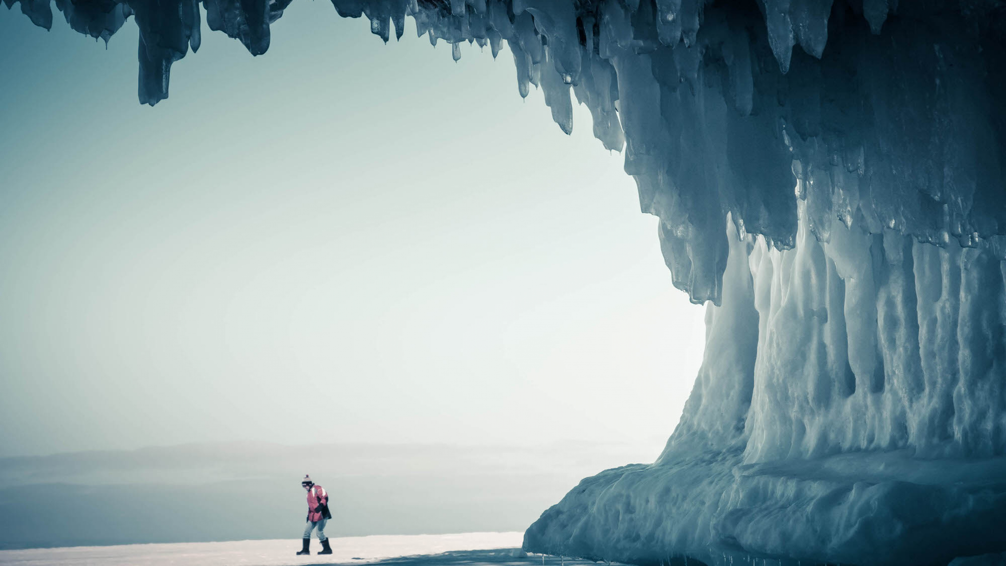 Person hiking in the winter at Apostle Islands National Lakeshore