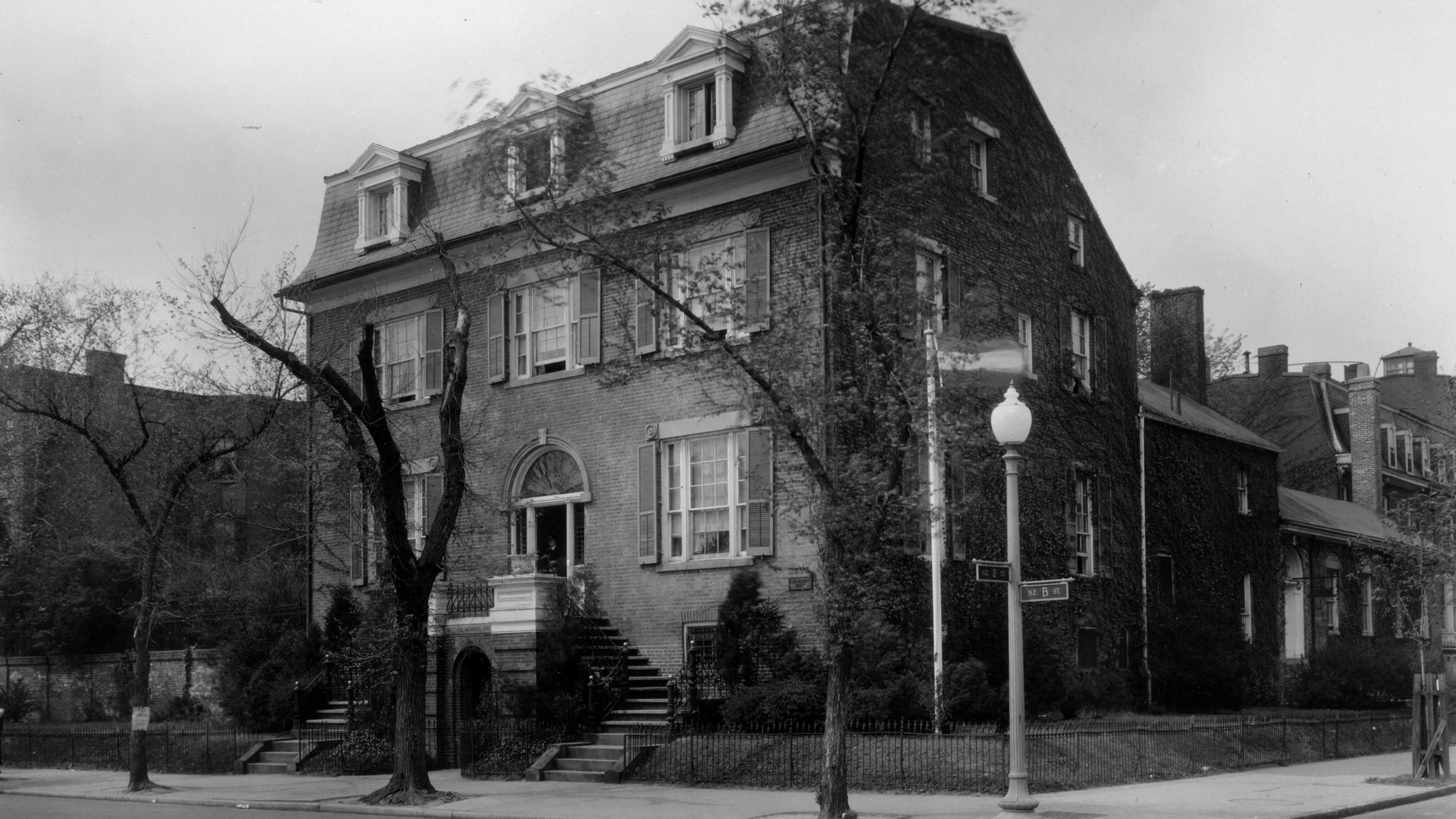 Black and white photo of the Belmont Paul house