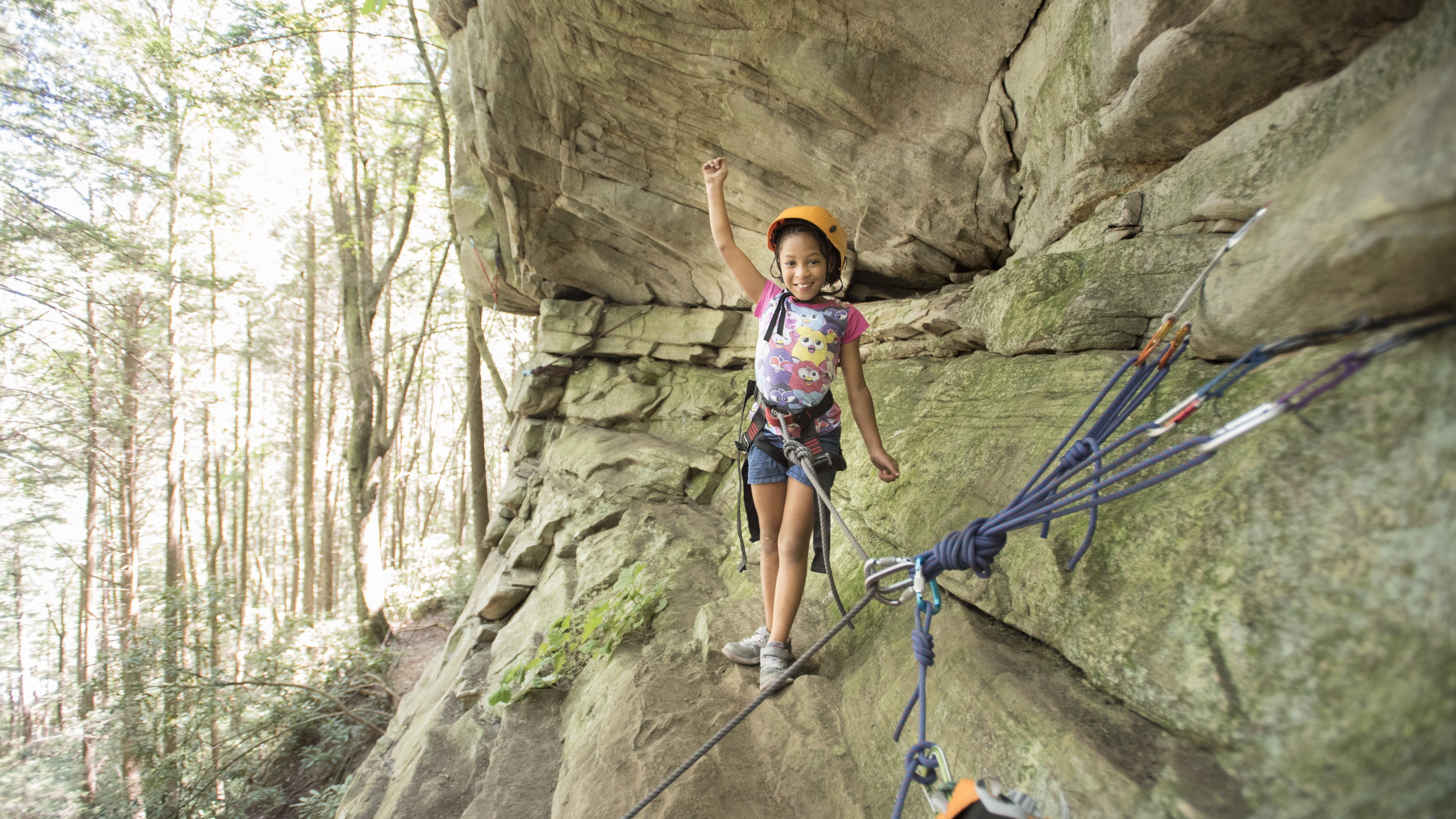 Child climbing at Obed WSR