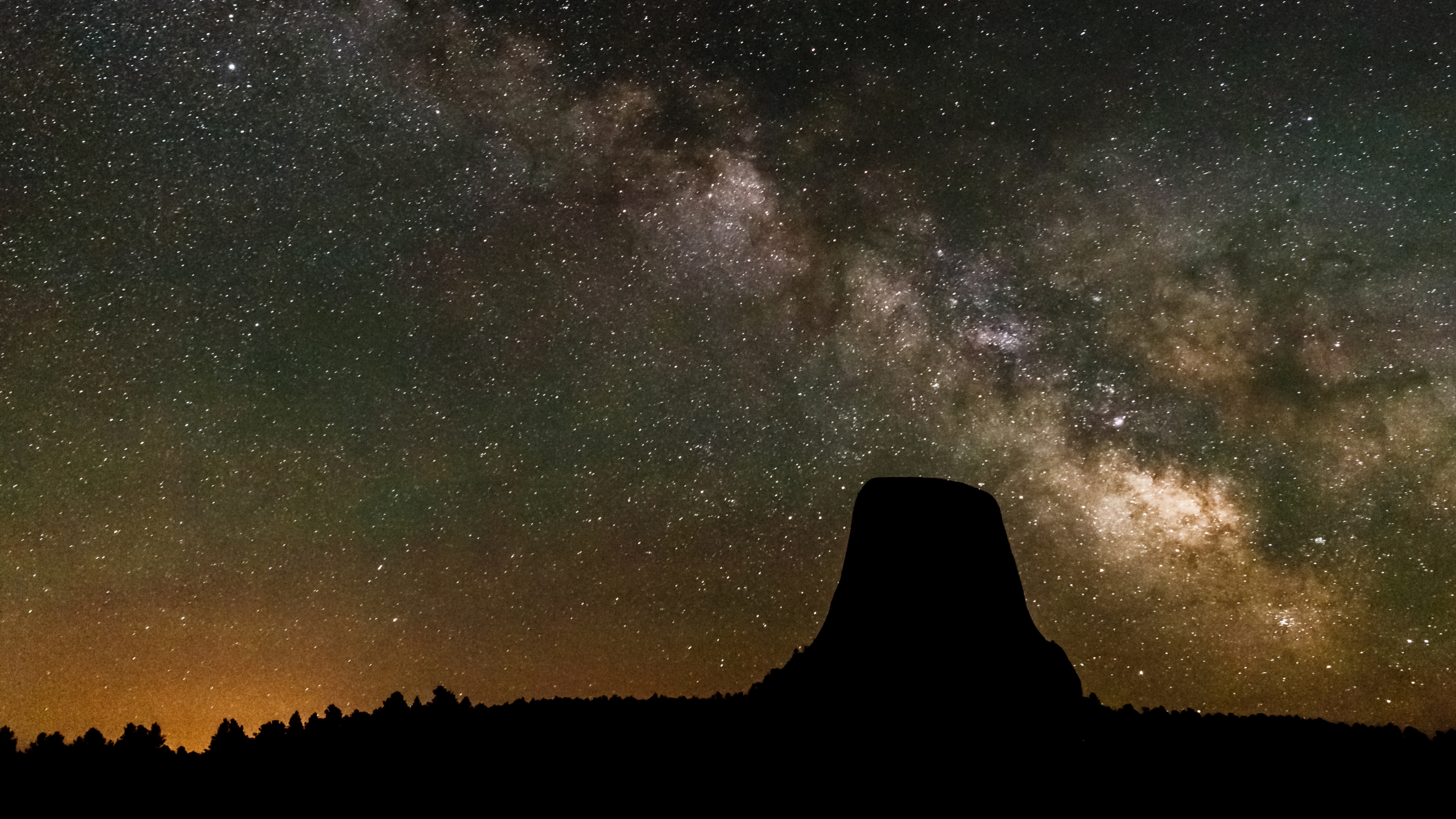Milky Way in the night sky over Devil's Tower National Monument