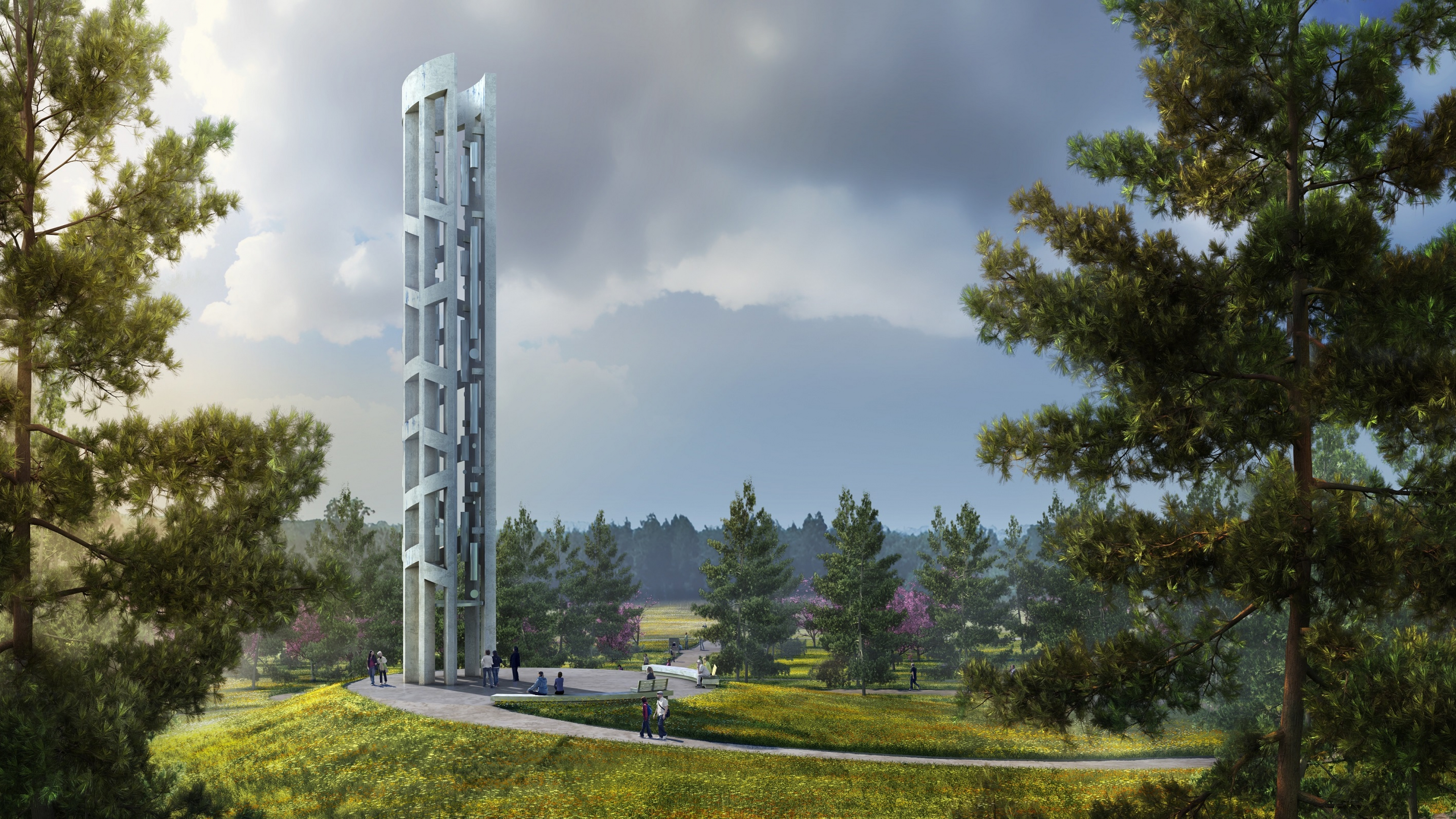 Tower of Voices rendering at Flight 93 National Memorial