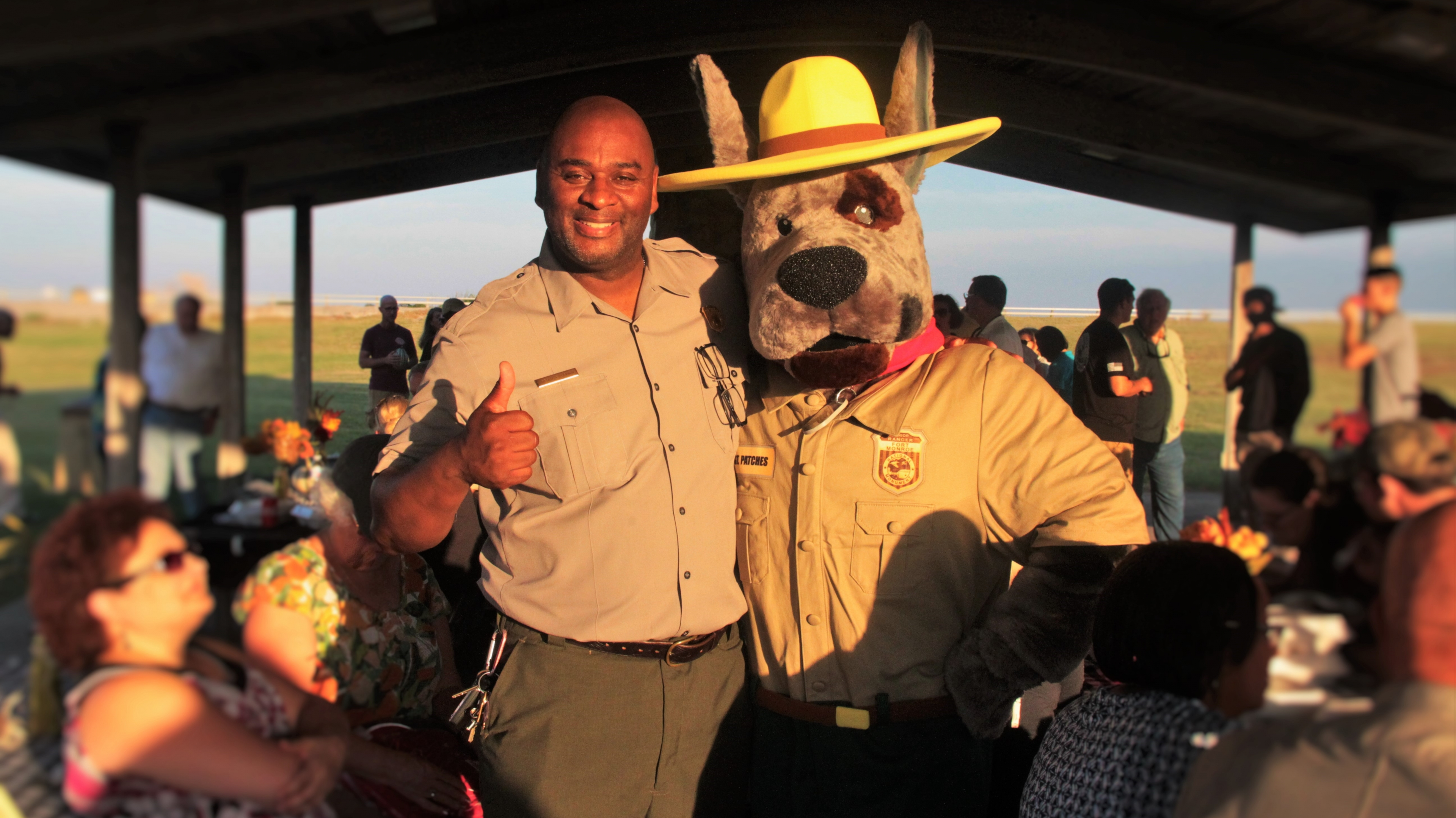 Superintendent Terry E. Brown with Sergeant Patches at Fort Monroe National Monument