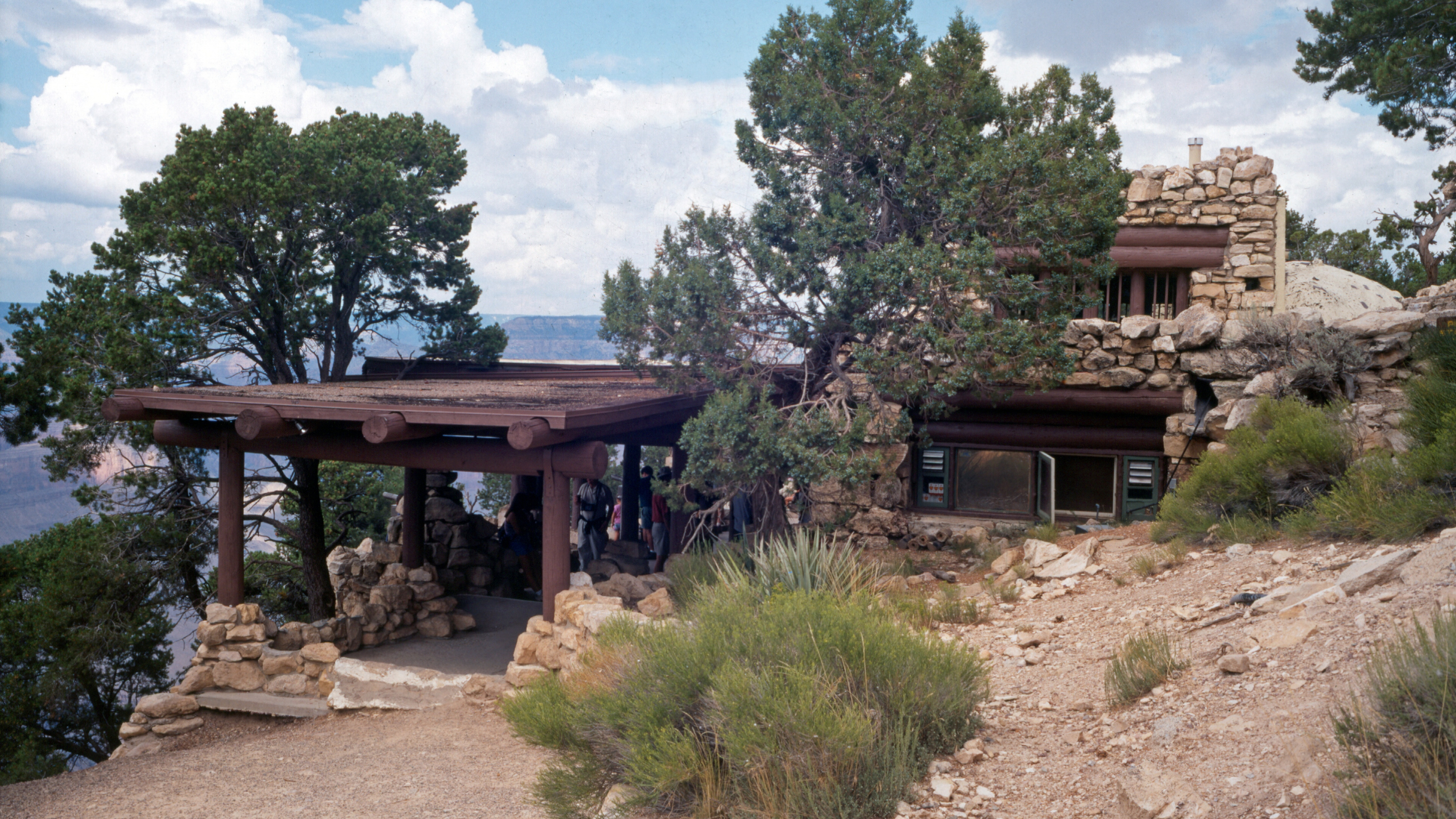 West entrance to the stone Hermit's Rest building at Grand Canyon National Park