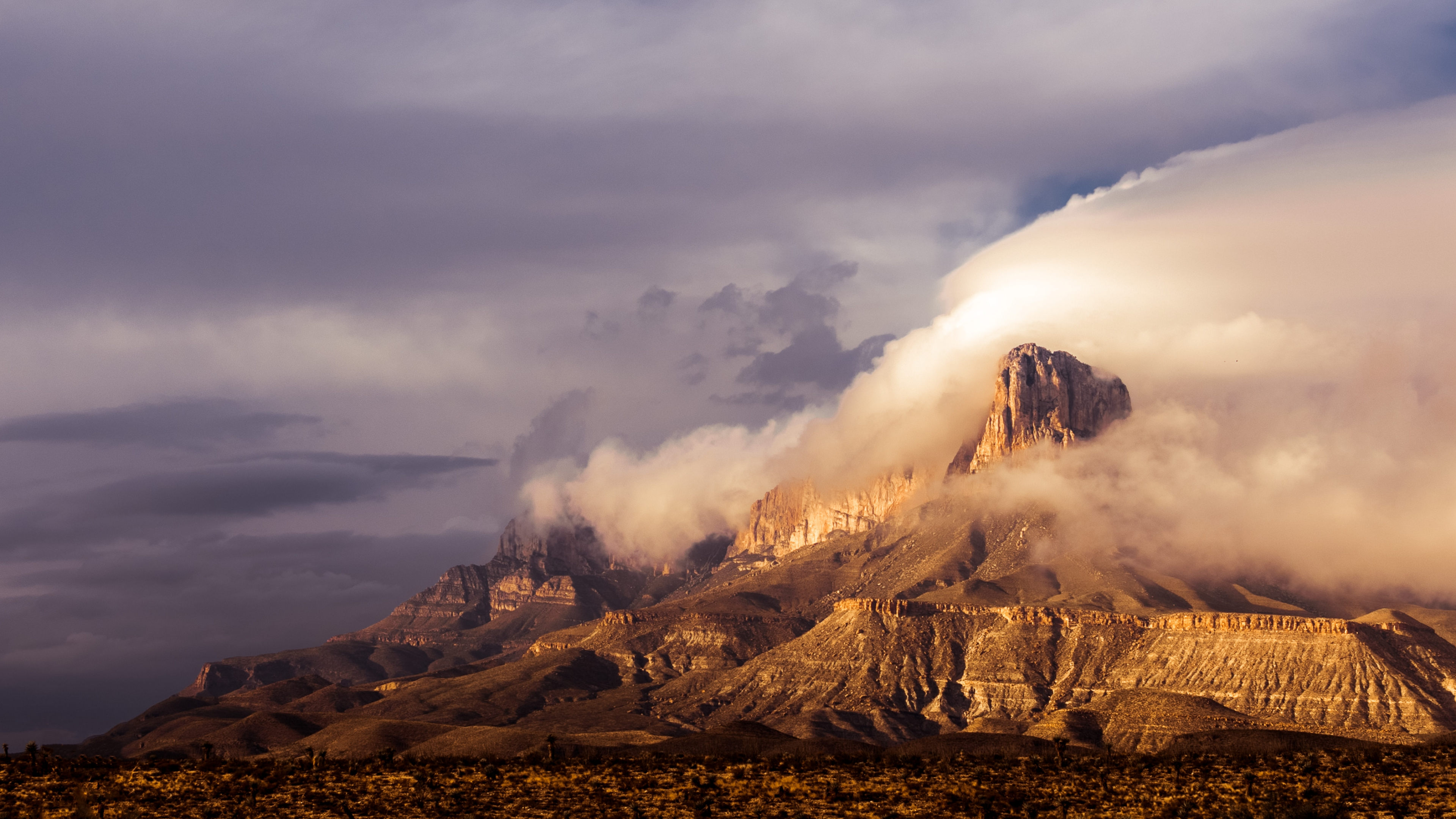 The clouds rolling over the peaks of the Guadalupe Mountains