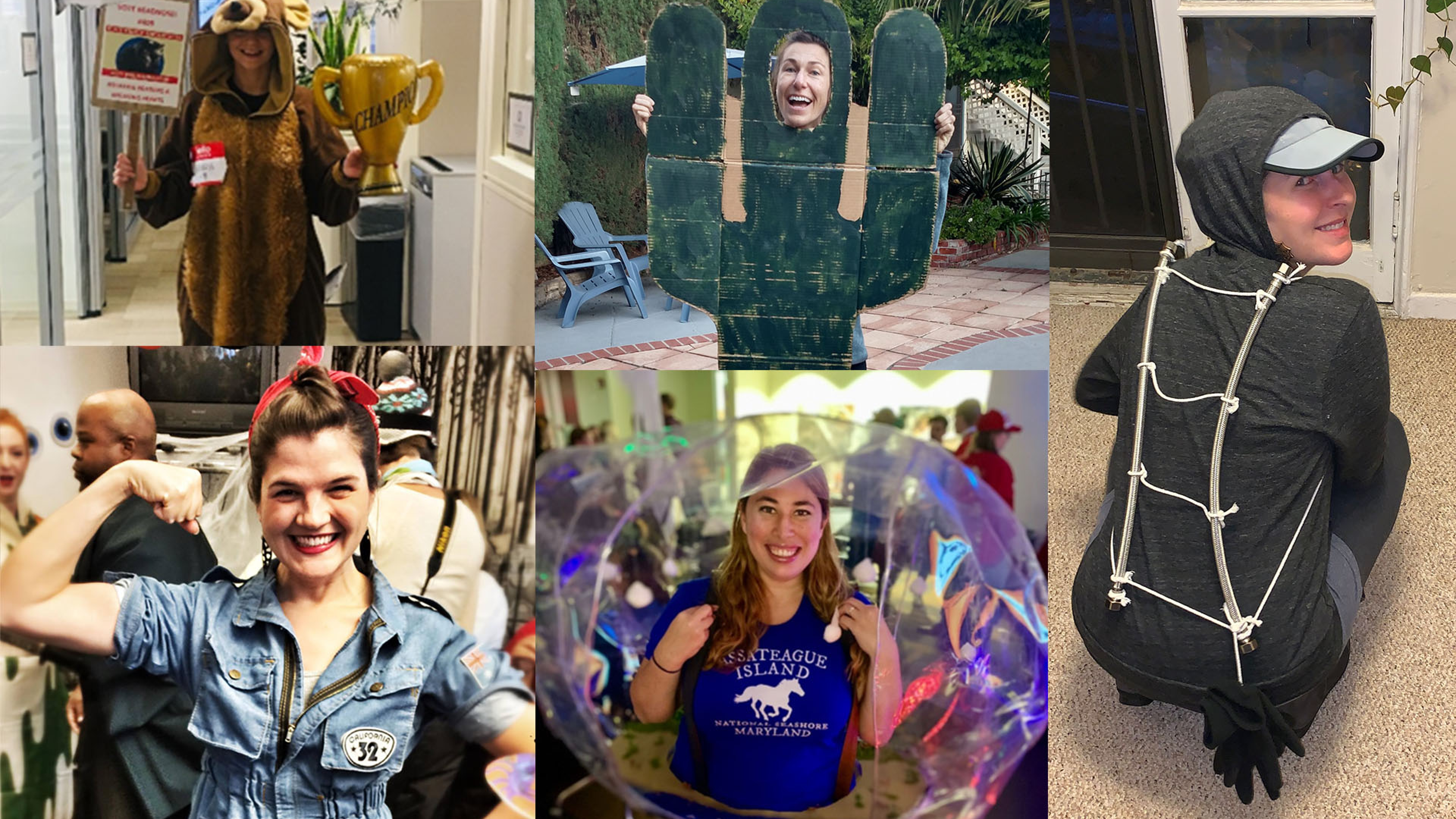 Collage of people in park-inspired Halloween costumes, including a Katmai bear, Saguaro cactus, Half Dome in Yosemite, and Rosie the Riveter