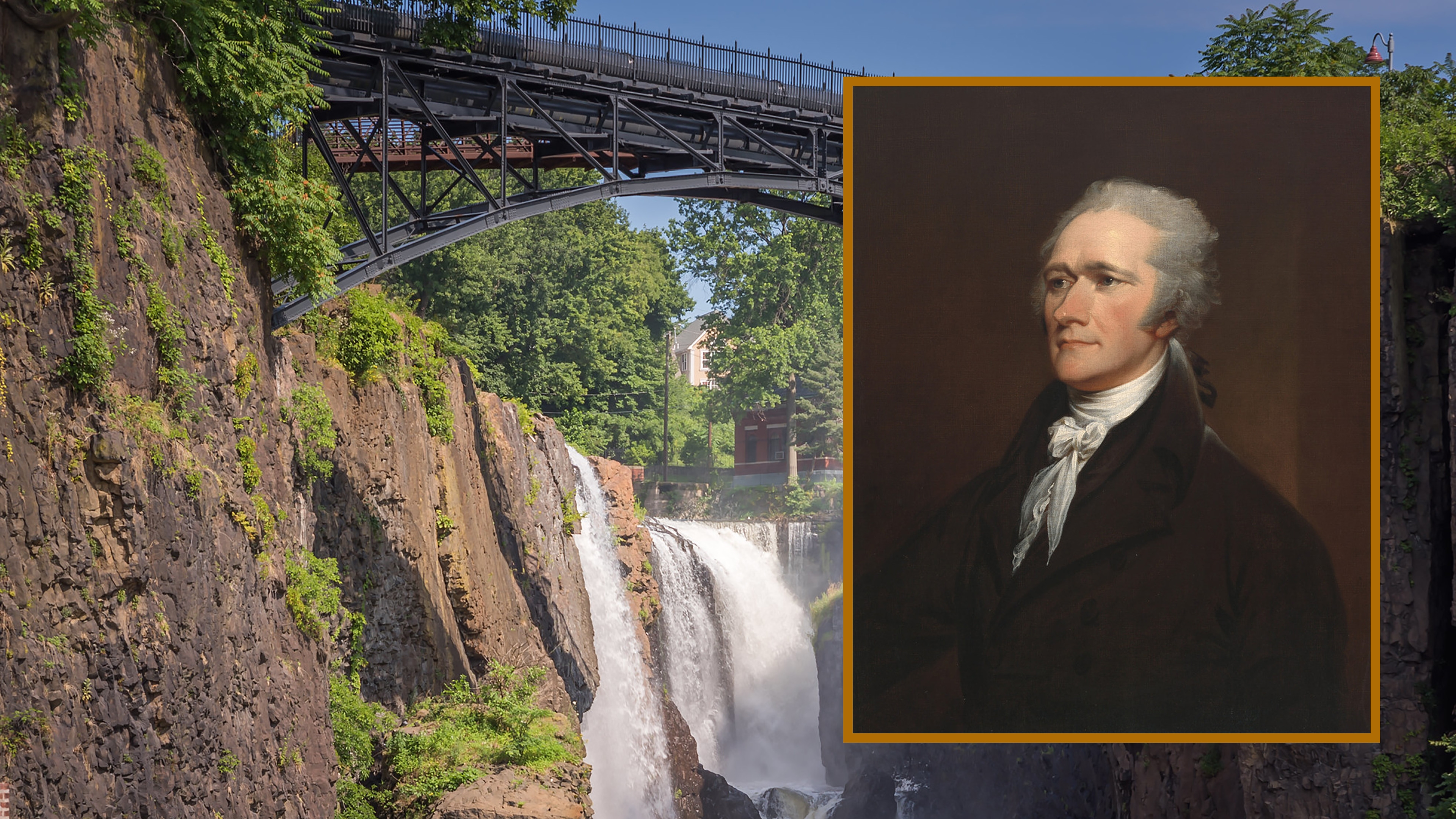 Waterfall with a high steel bridge reaching over it; Portrait of Alexander Hamilton as painted by John Trumbull