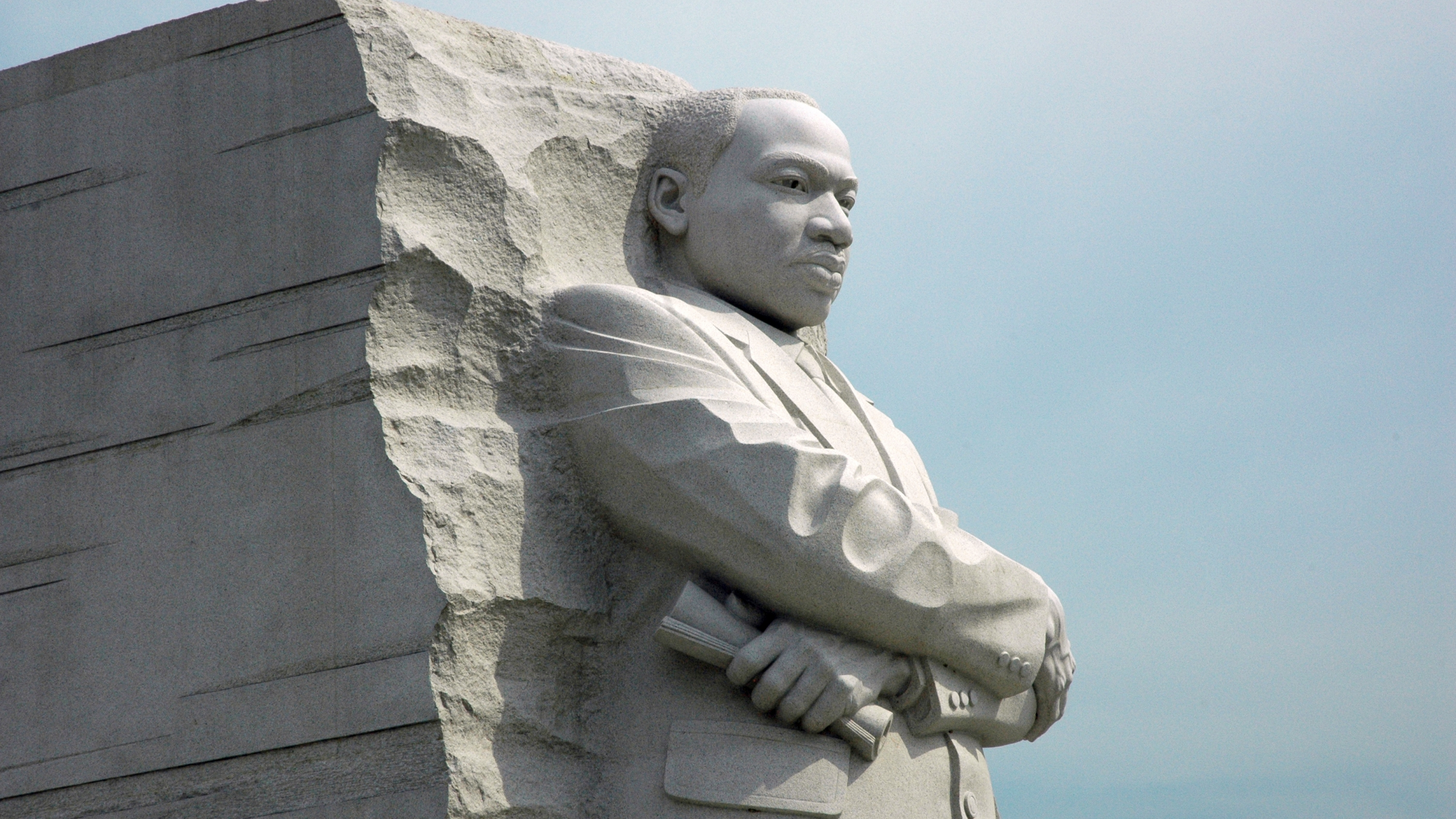 Stone monument depicting Dr. Martin Luther King, Jr.