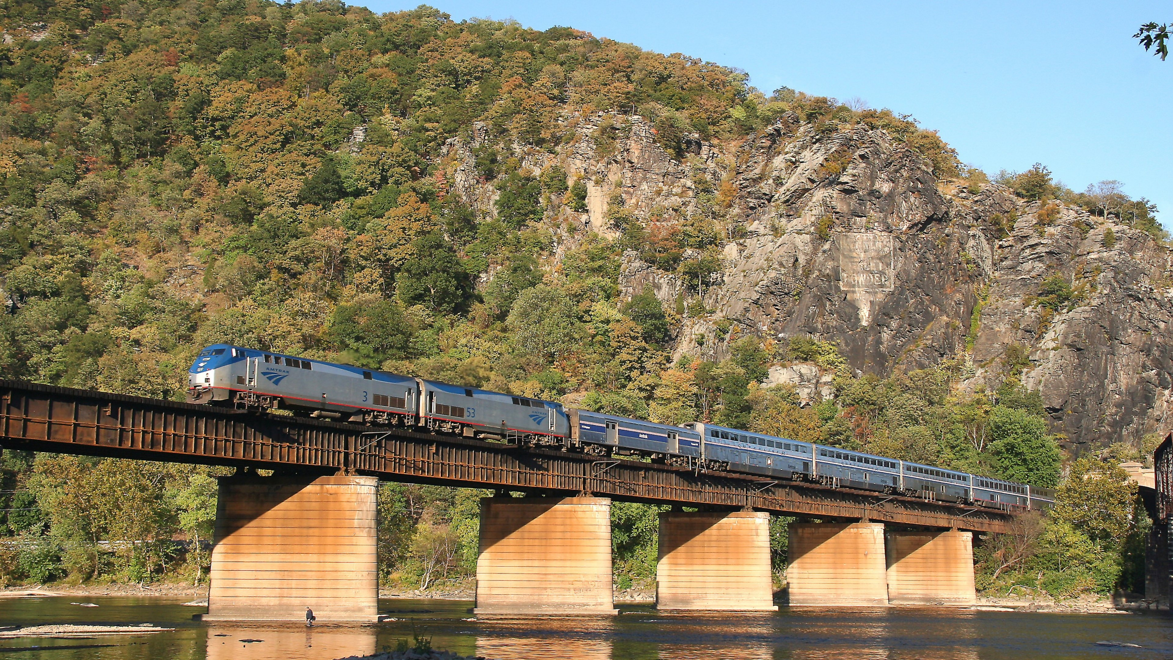 Train on a bridge over the Potomac River at Harpers Ferry National Historic Park
