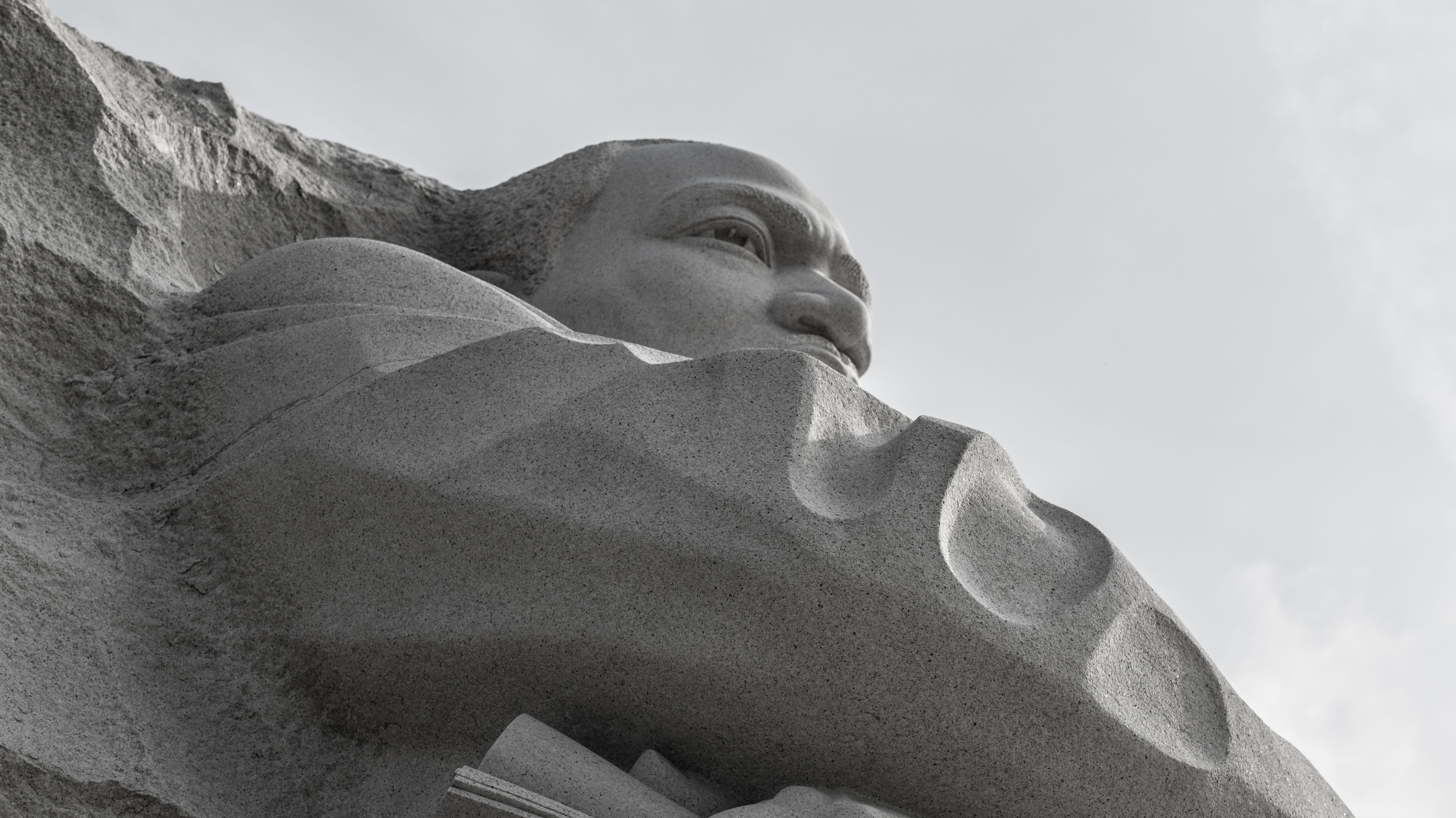 View up at the marble statue of Martin Luther King Junior