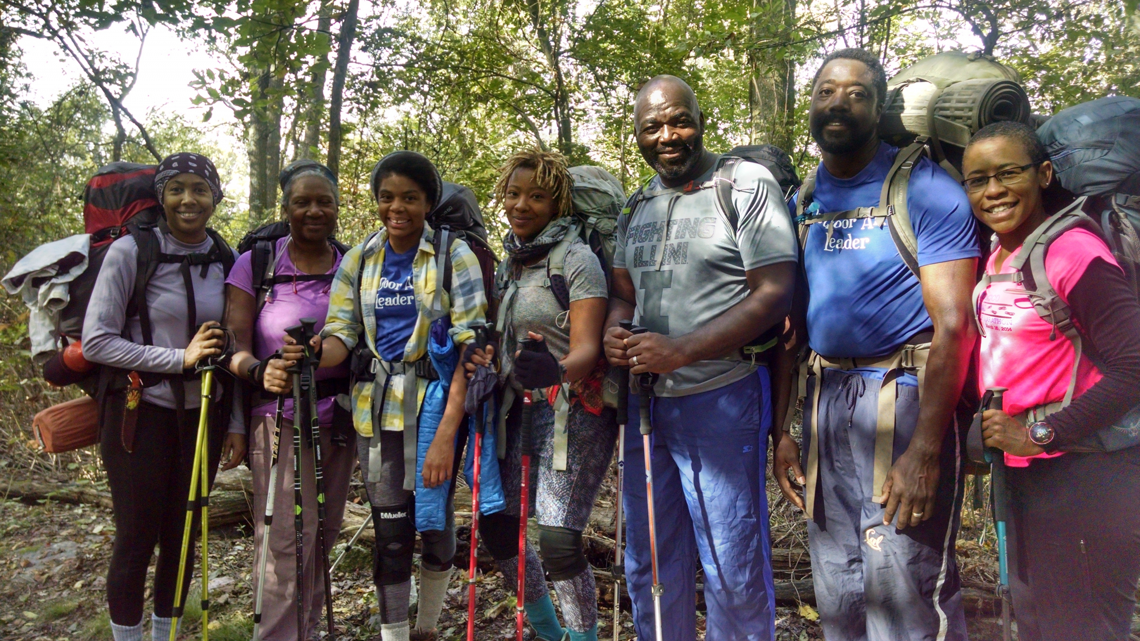 Group of backpackers from Outdoor Afro on the Appalachian Trail