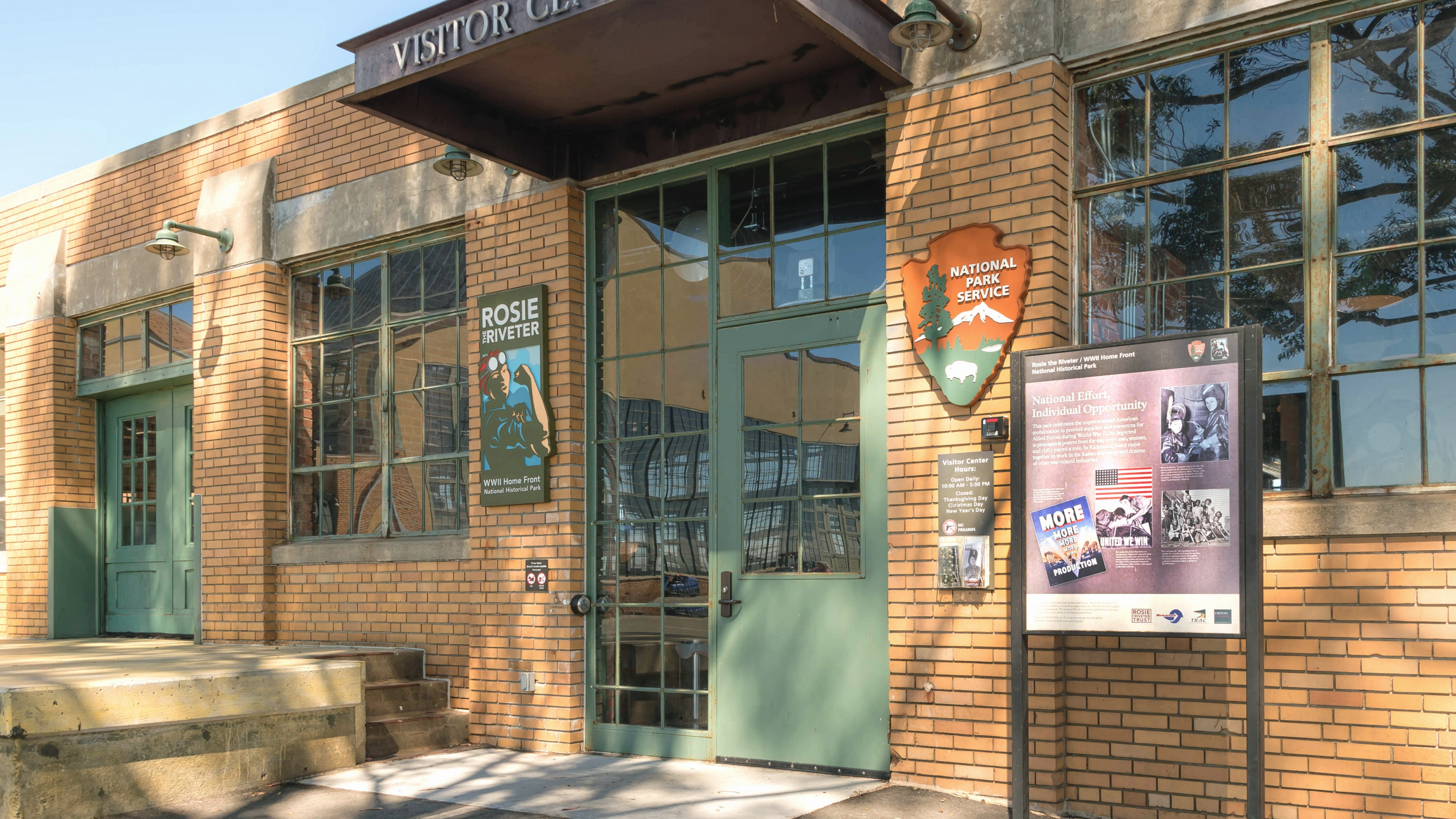 Entrance of the brick building of the visitor center at Rosie the Riveter / WWII Home Front National Historical Park
