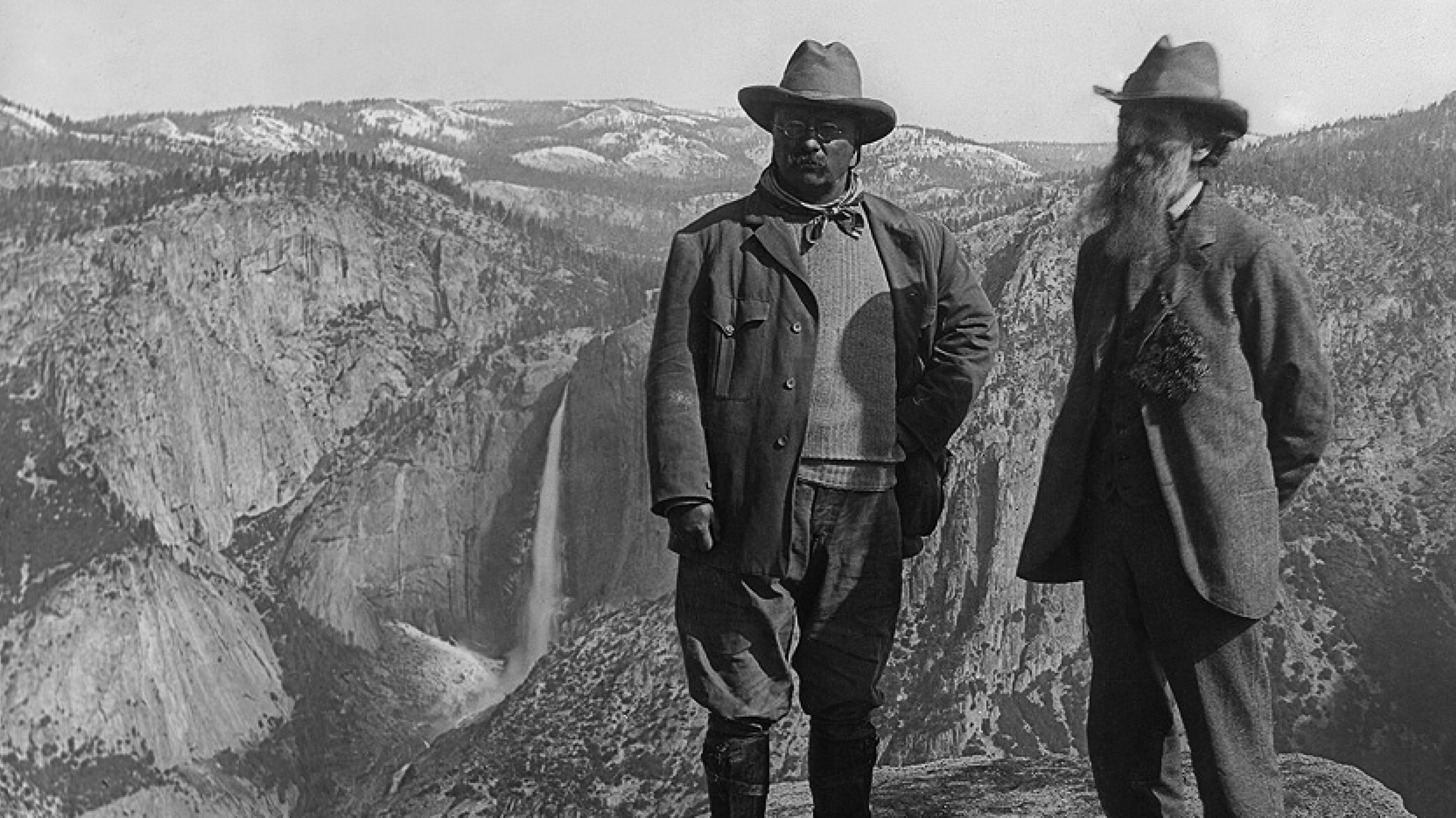 A photo of President Theodore Roosevelt and John Muir overlooking the falls in Yosemite.