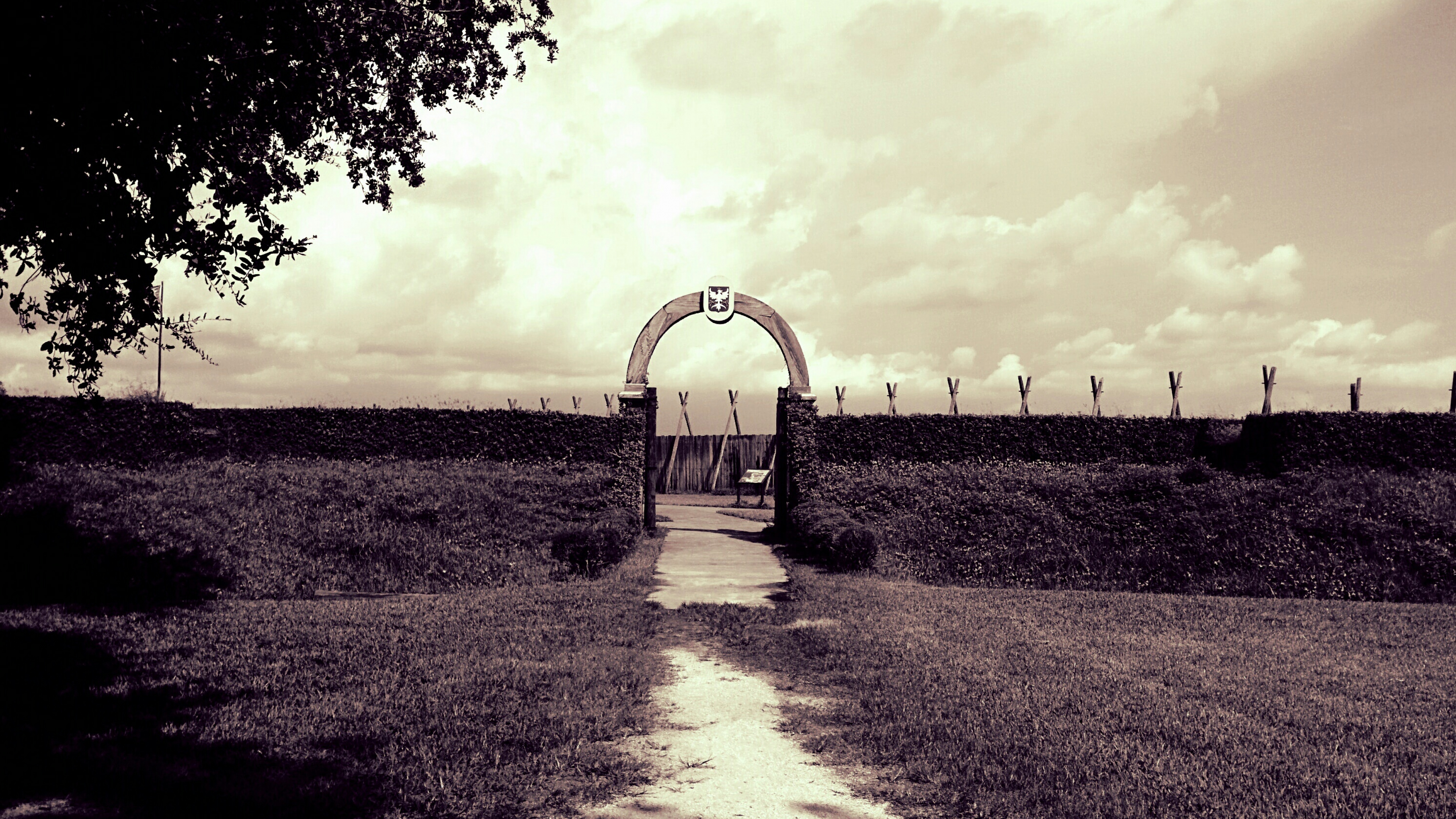 The arched entryway to Fort Caroline National Monument