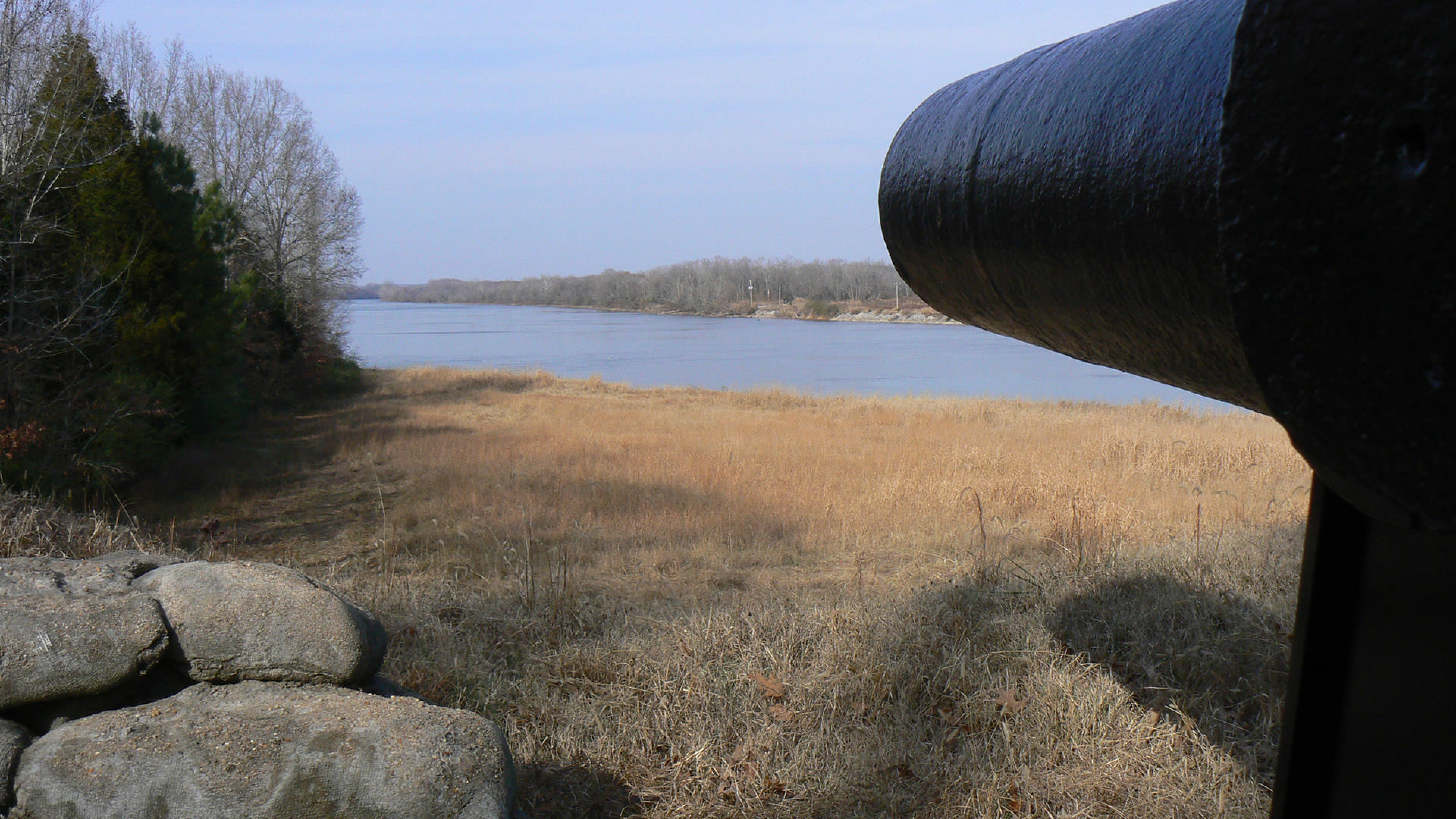 View of cannon from lower battery at Fort Donelson National Battlefield
