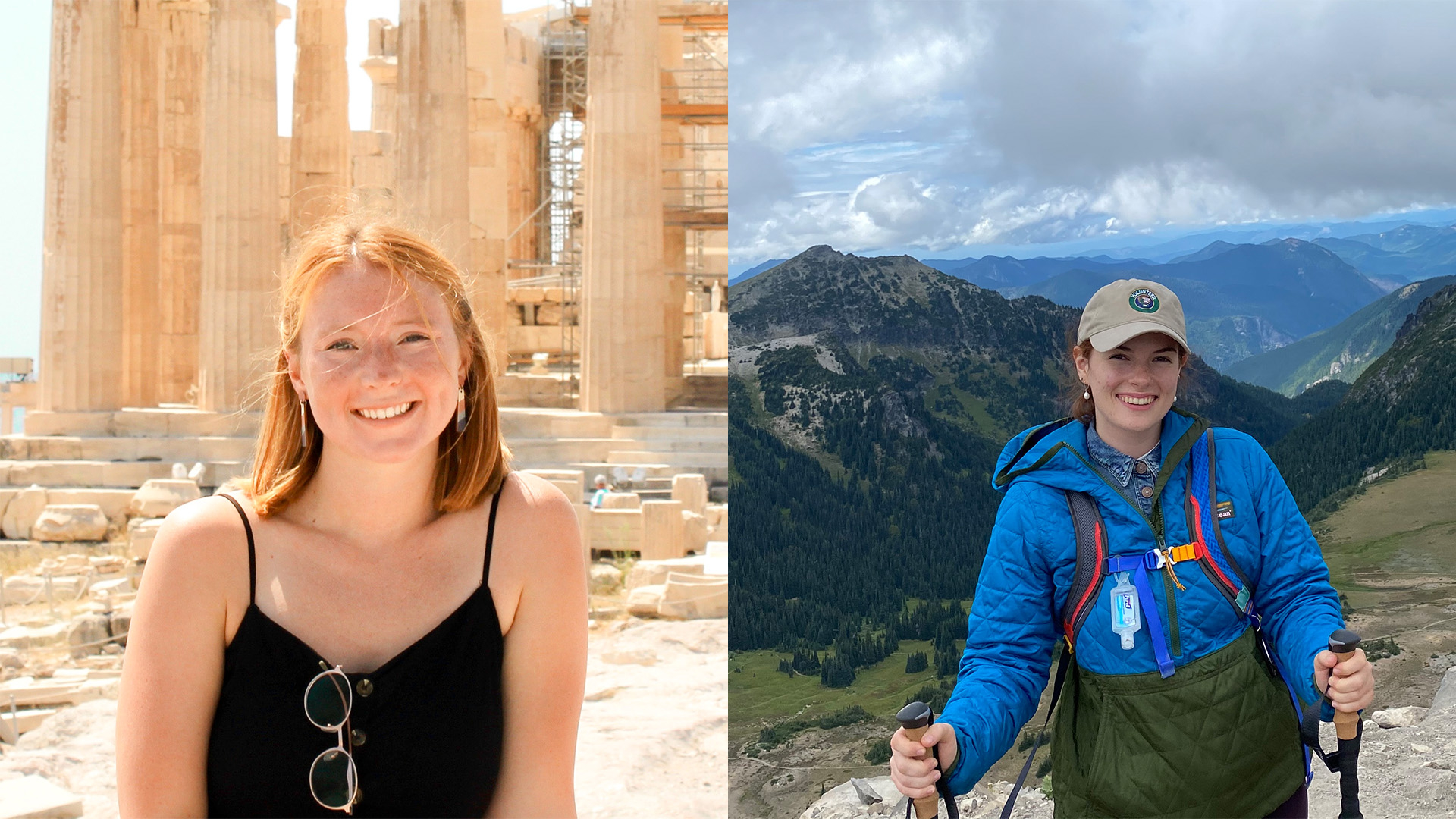 On the left: McKenzie Hitchcock smiles at the camera, posed in front of golden stone archeological ruins bathed in sunlight. On the right: Dorien Scheets poses and smiles at the camera from a mountainous summit