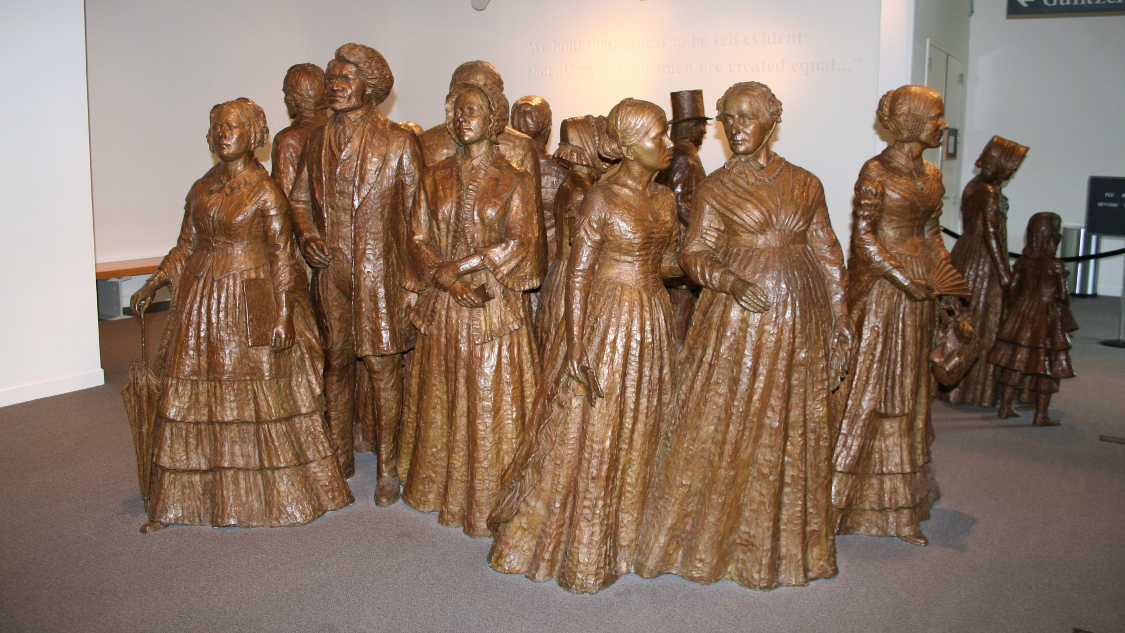 Bronze statues of the First Wave at Women's Rights National Historical Park in New York
