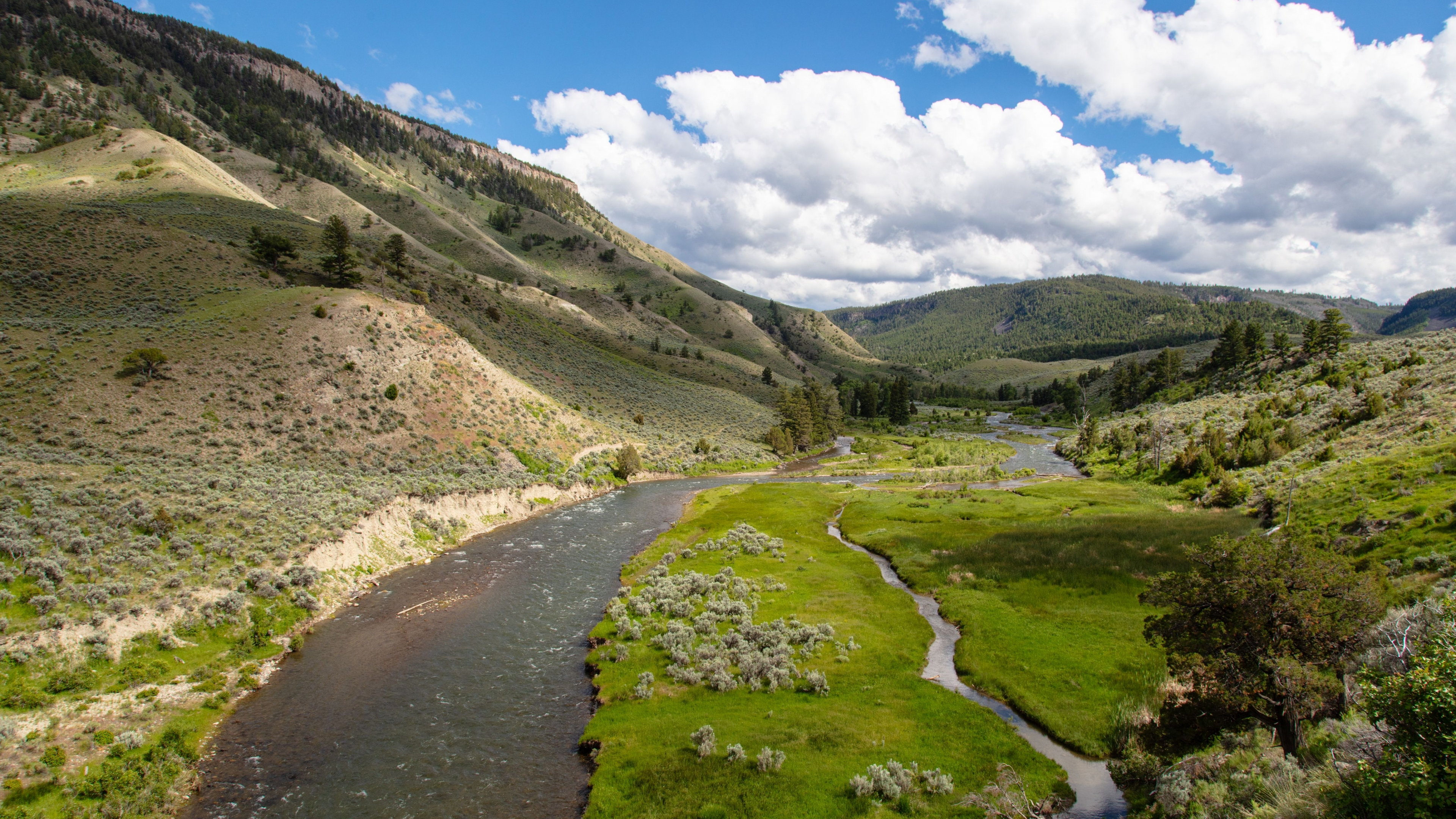 View of the Gardner River from Lava Creek Trail at Yellowstone National Park