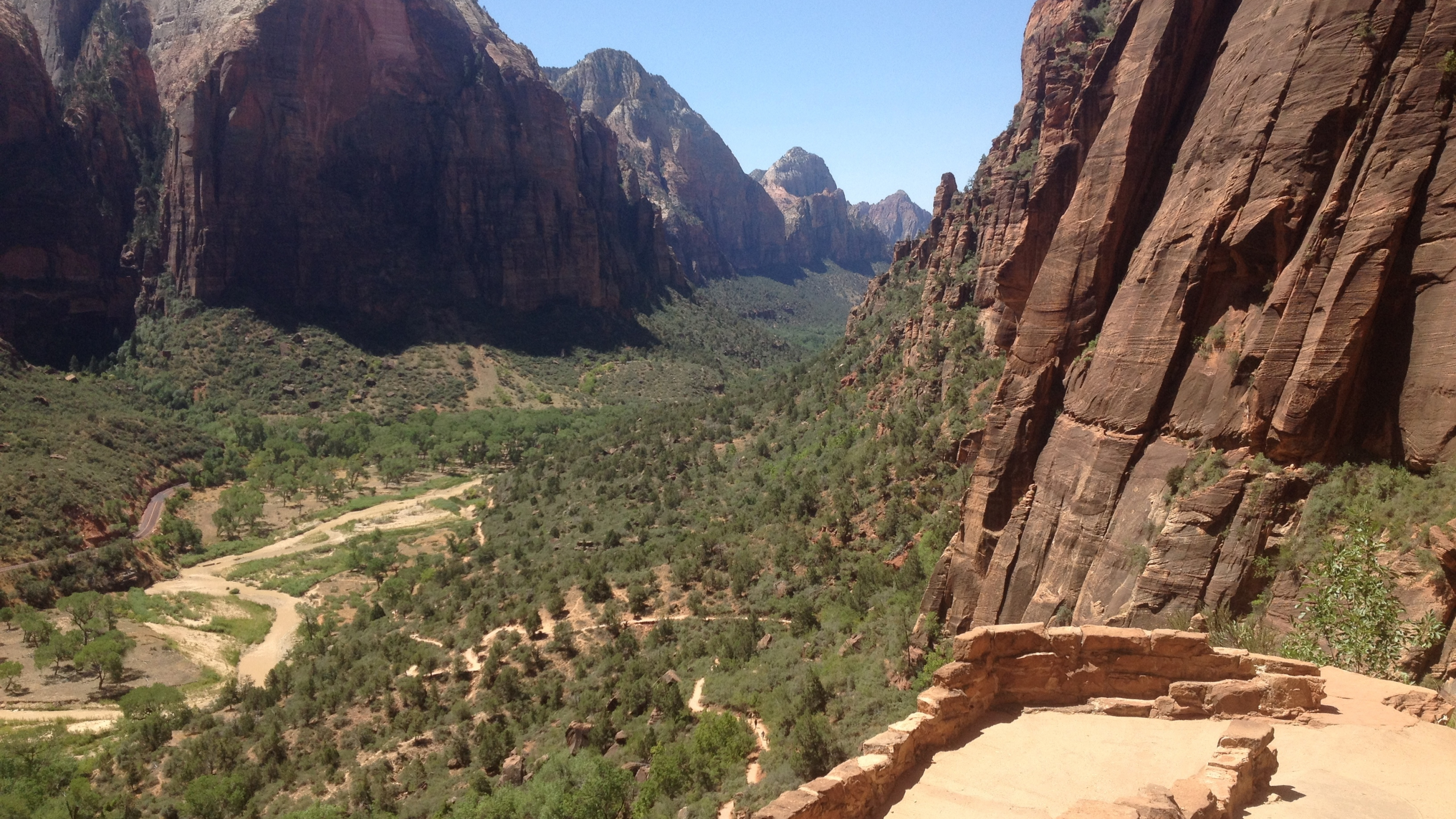Dramatic view of Zion Canyon from part way up the canyon walls.