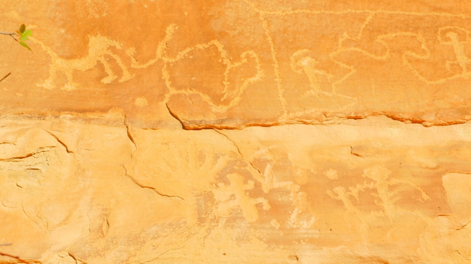 Petroglyphs carved into the sandstone walls at Mesa Verde National Park