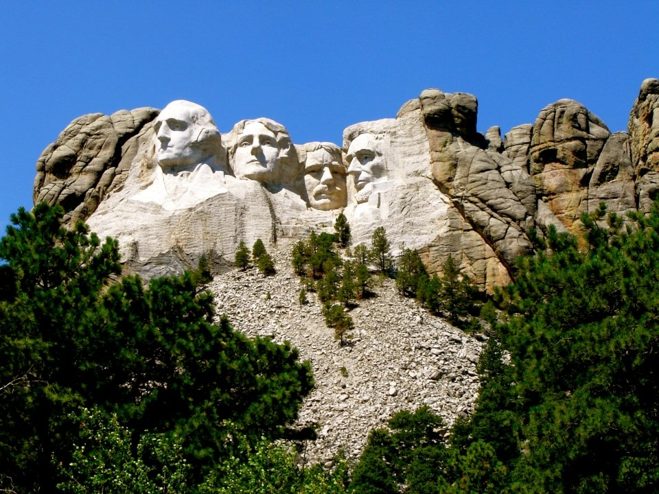 Faces carved into Mount Rushmore National Memorial
