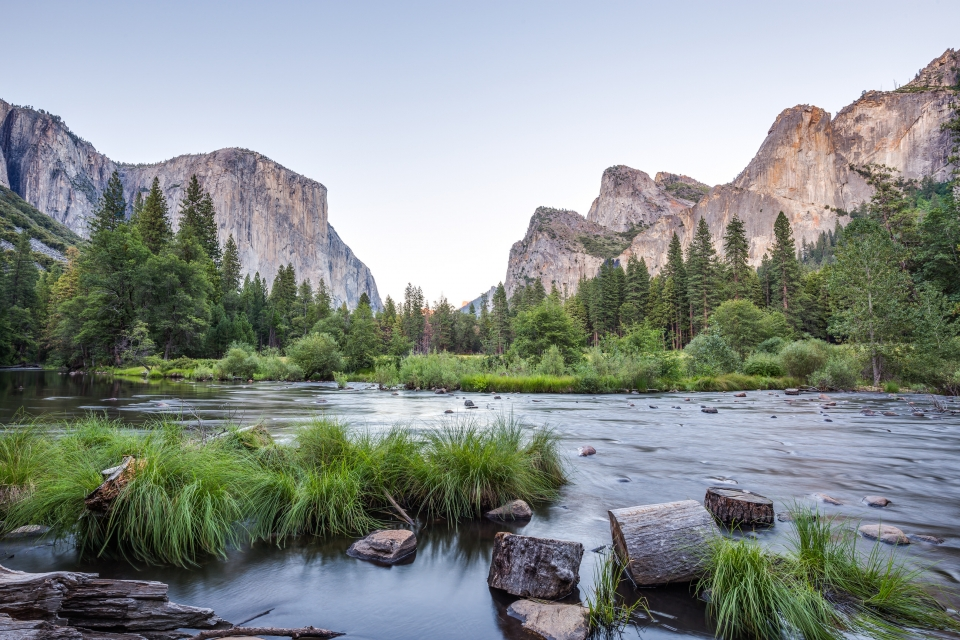 El Capitan behind green trees and a river at Yosemite National Park