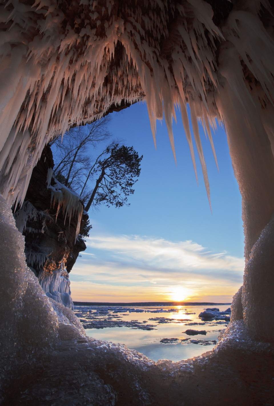Frozen icicles hang off a cave wall at Apostle Islands