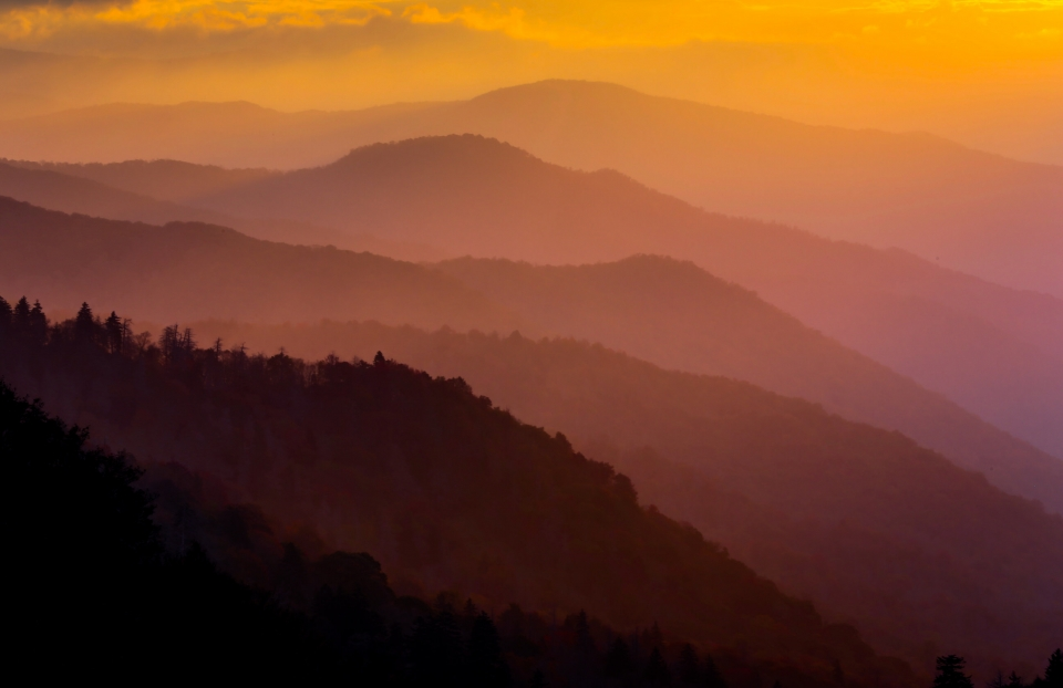 Colorful sunset of the foggy Great Smoky Mountains