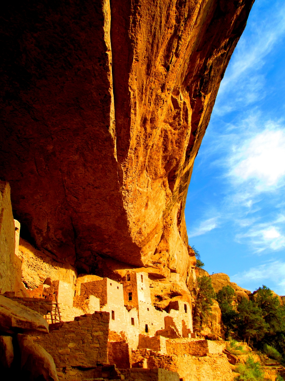 A clear blue sky over ruins in Mesa Verde