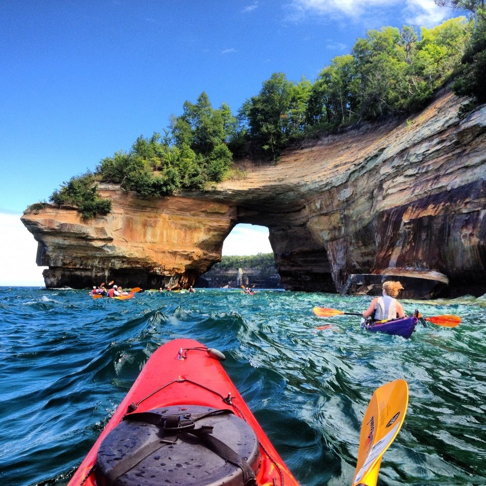Kayakers at Pictured Rocks