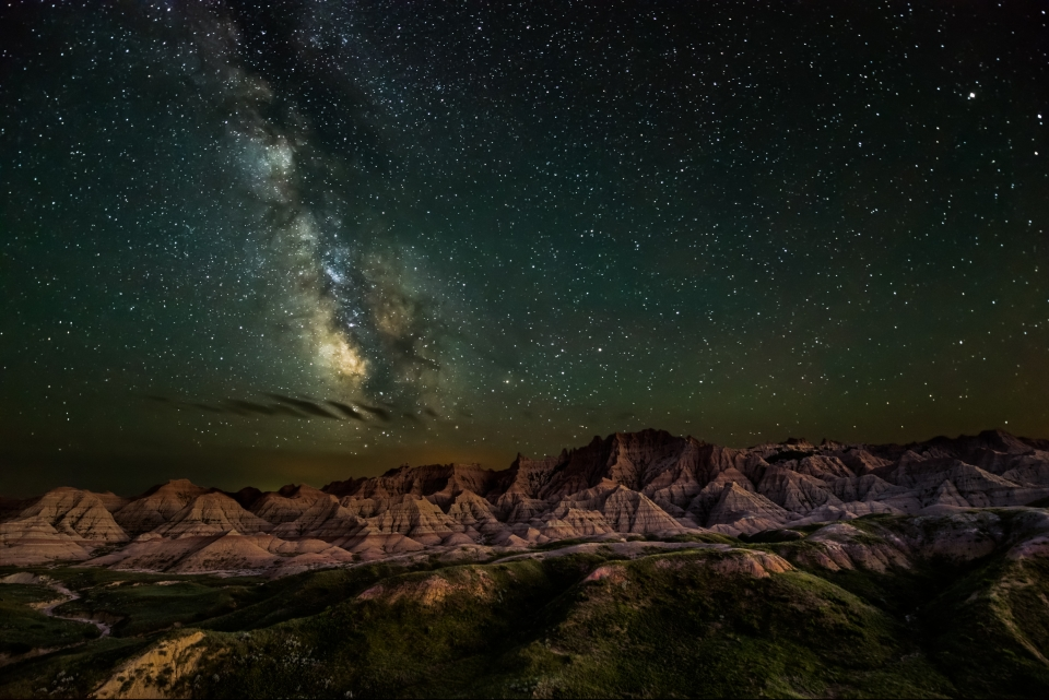 The night sky over Badlands National Park