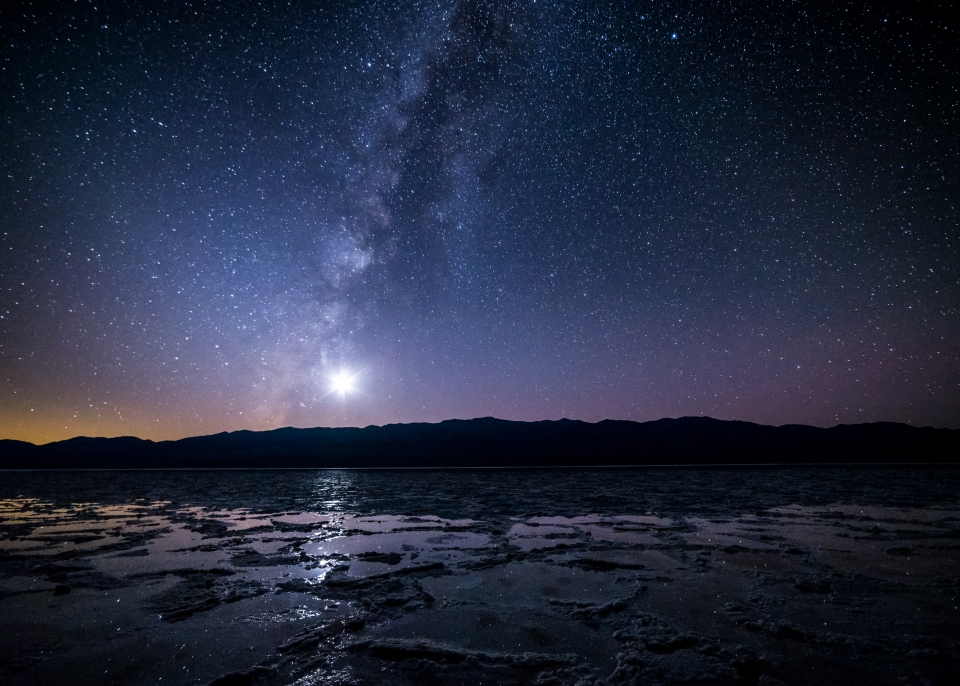 Milky Way over the salt flats at Death Valley National Park