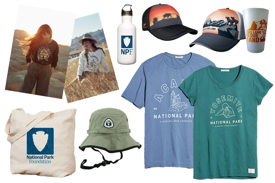 collage of shirts and hats for the National Park Foundation gift guide